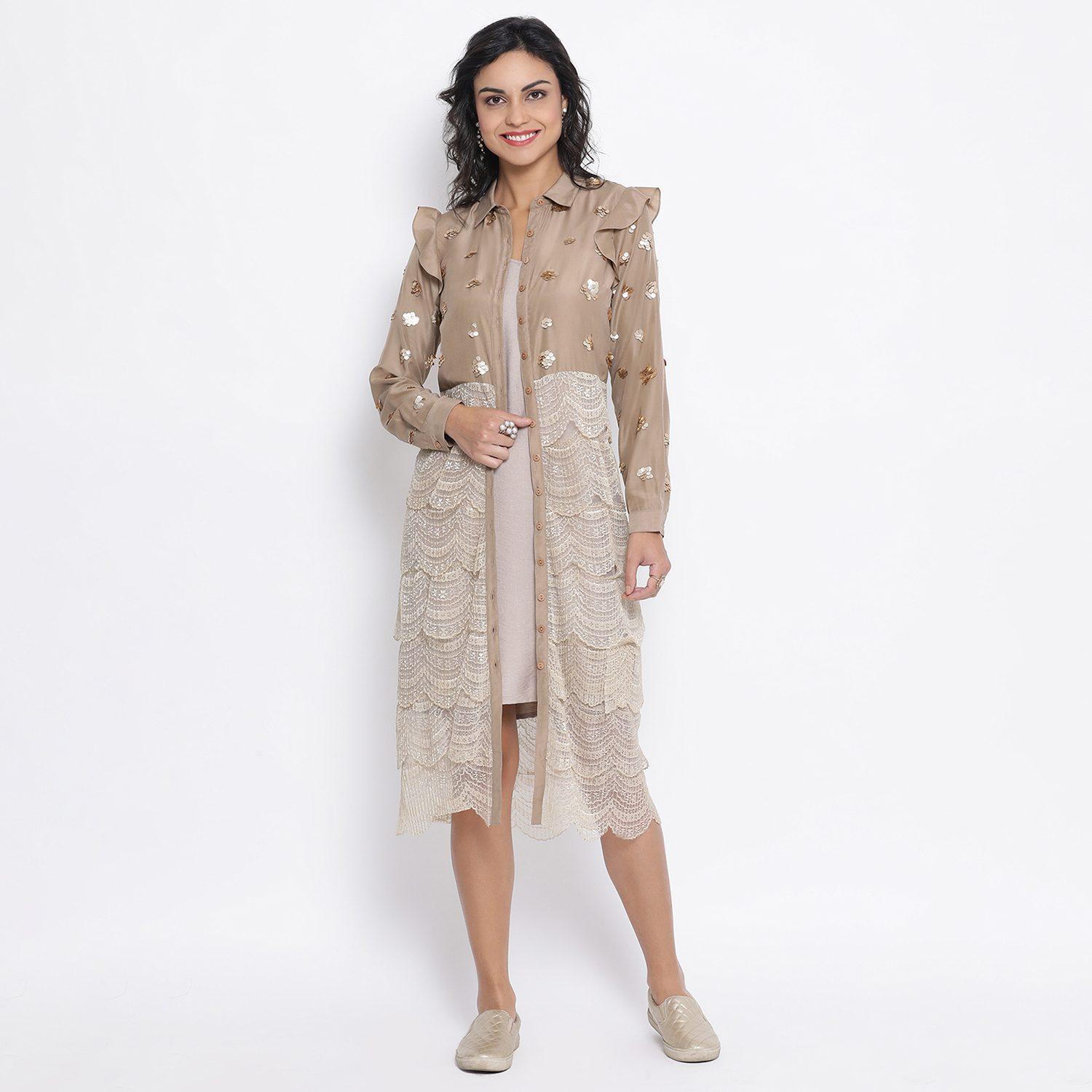 Buy Beige Lace Tunic With Gold Sequence Embroidery For Women