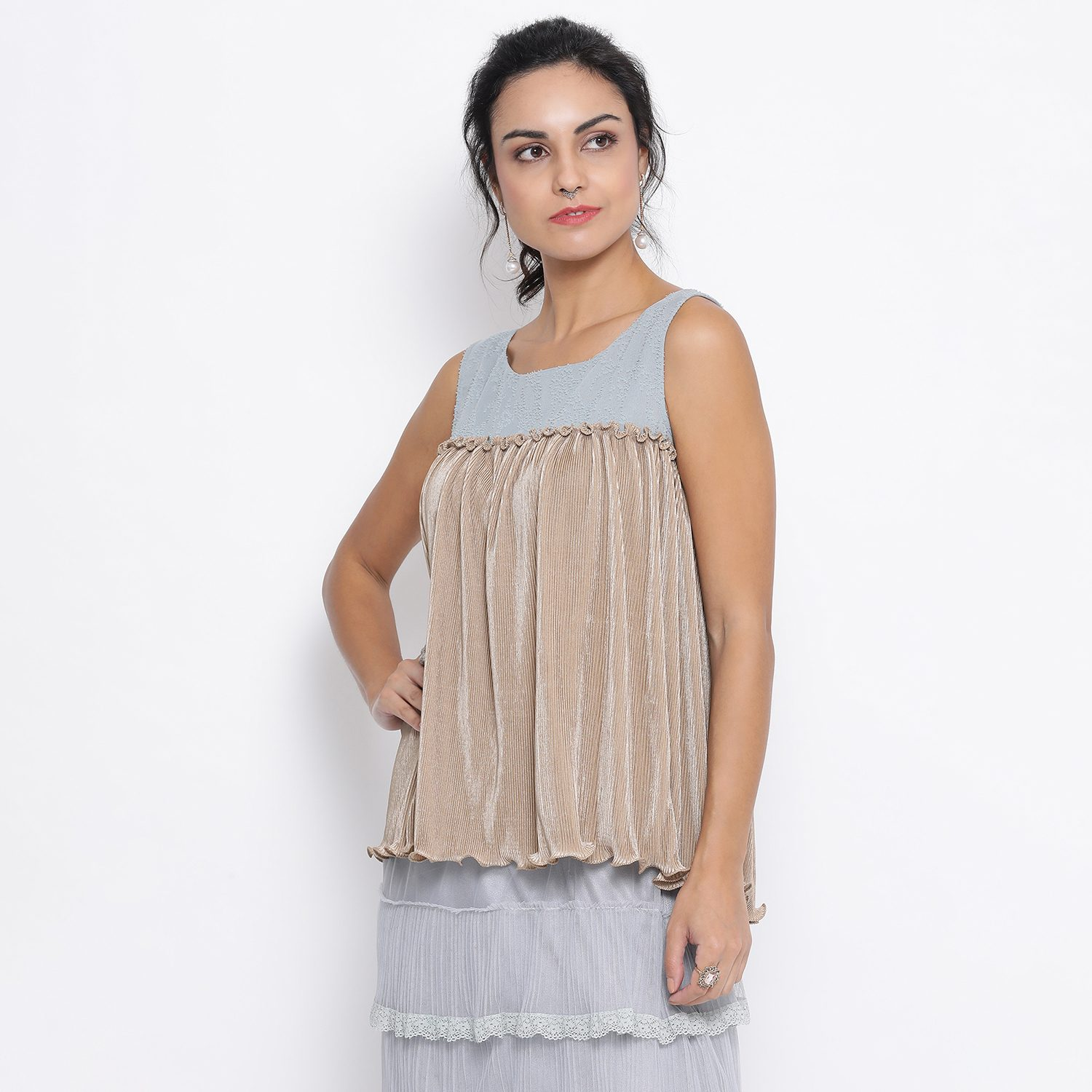 Buy Beige Texture Sleeveless Top With Georgette For Women