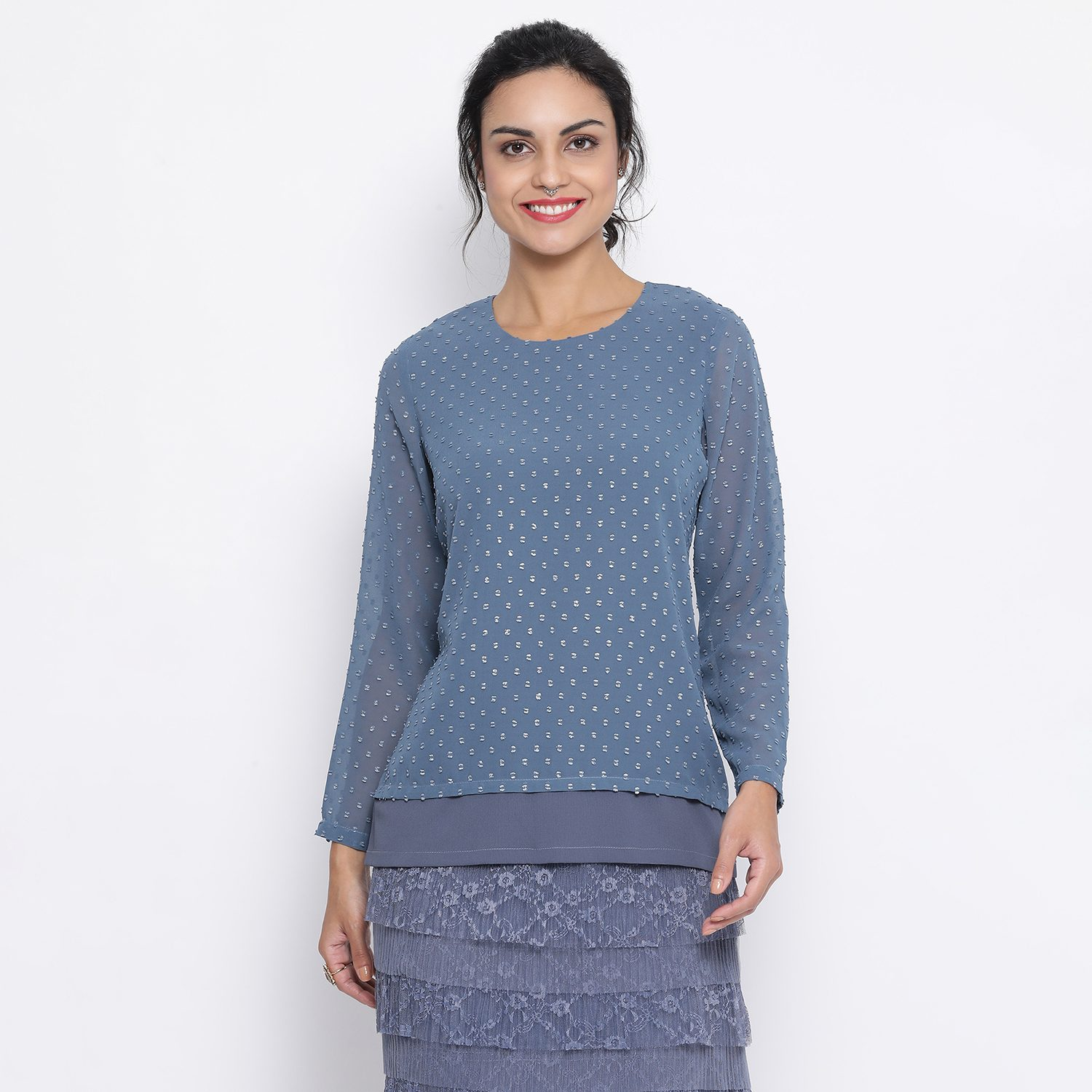 Buy Stone Blue Double Layer With Back Slit Top For Women