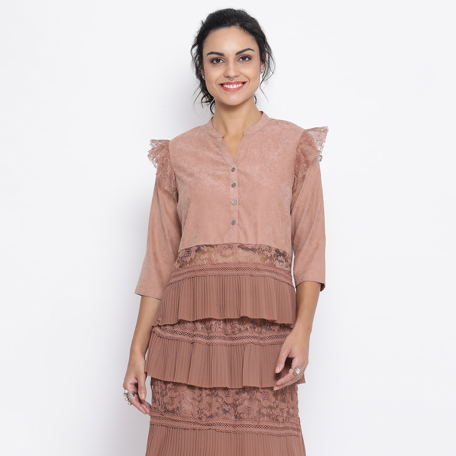 Buy Rust Top With Net And Lace At Waist For Women