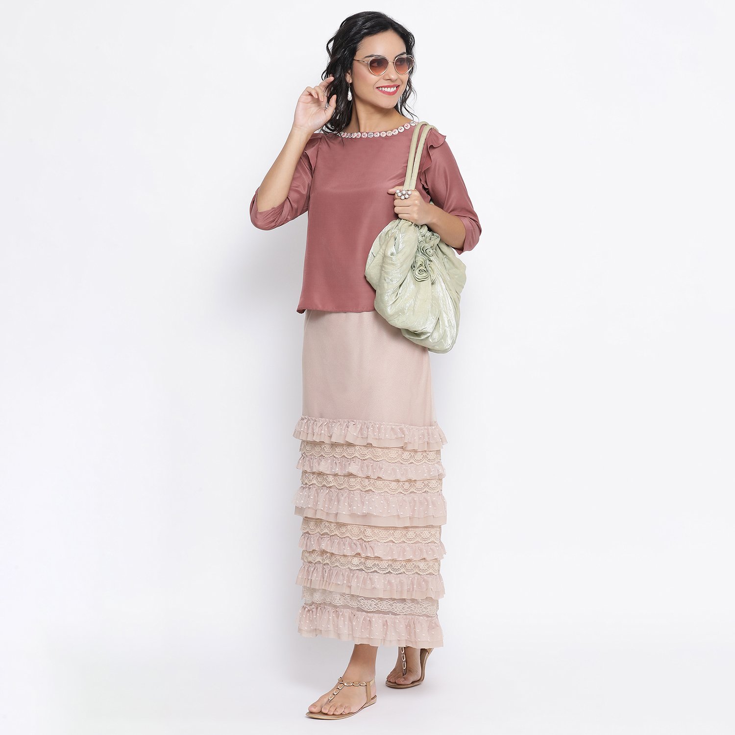 Buy Rose Wood Top With Button At Neck For Women