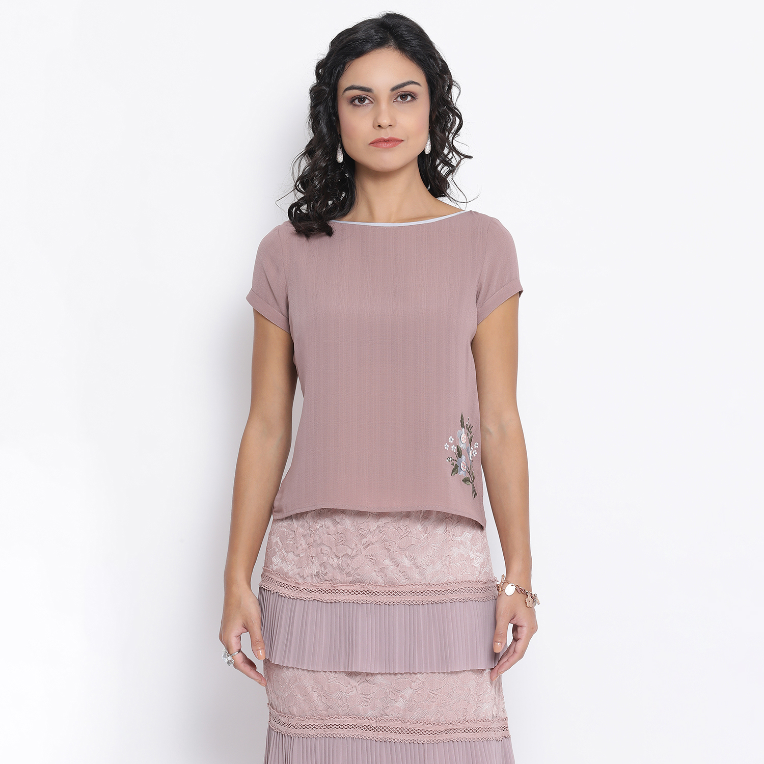 Buy Rose Pink Boat Neck Top With Button Embroidery For Women