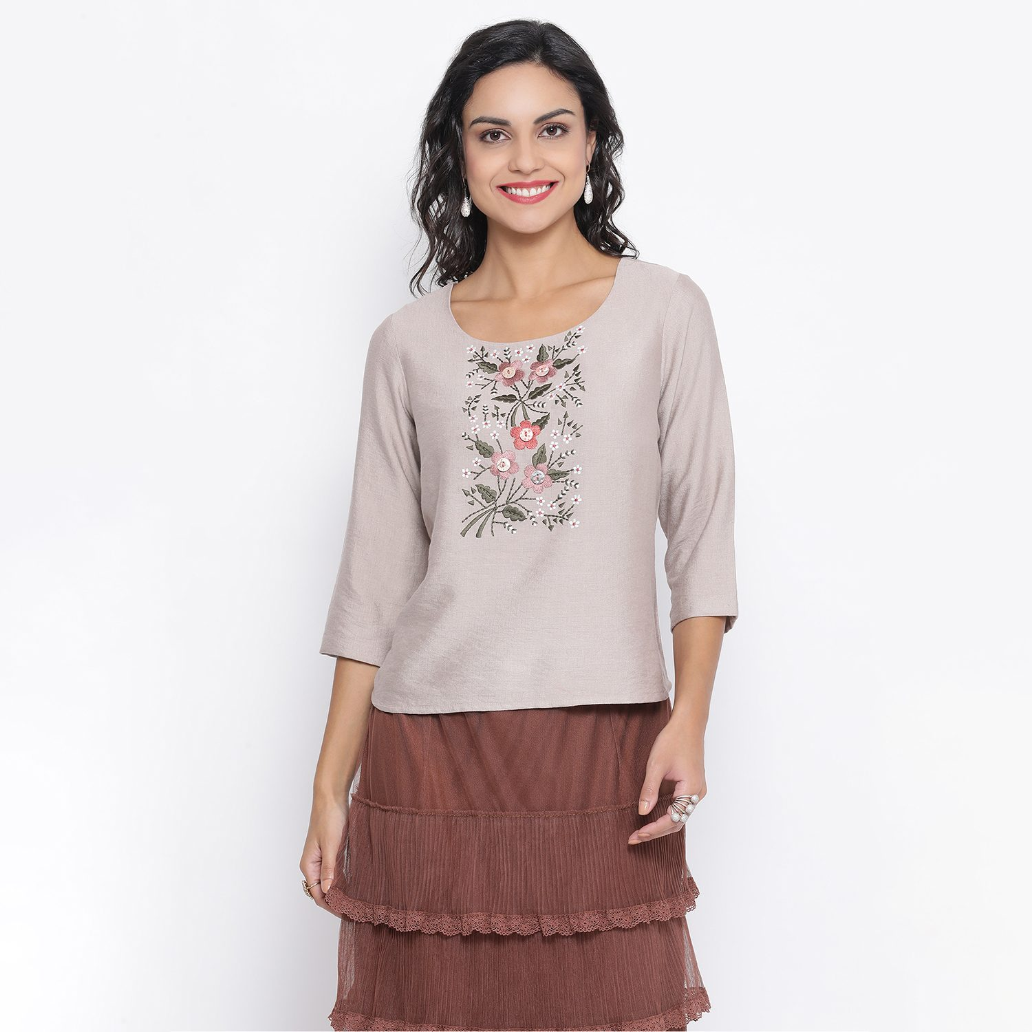 Buy Beige Top With Flower And Button Embroidery For Women