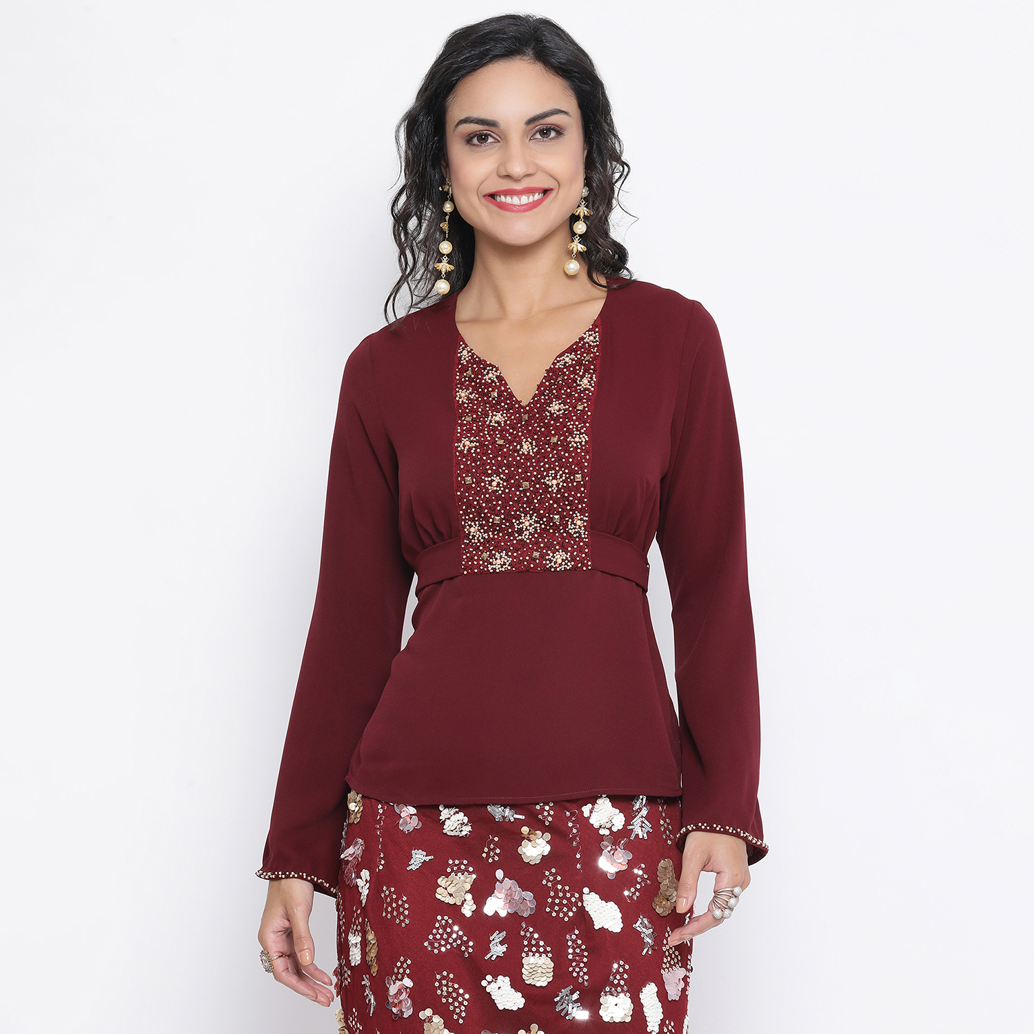Buy Maroon Top With Emb At Yoke With Back Tie Knot For Women