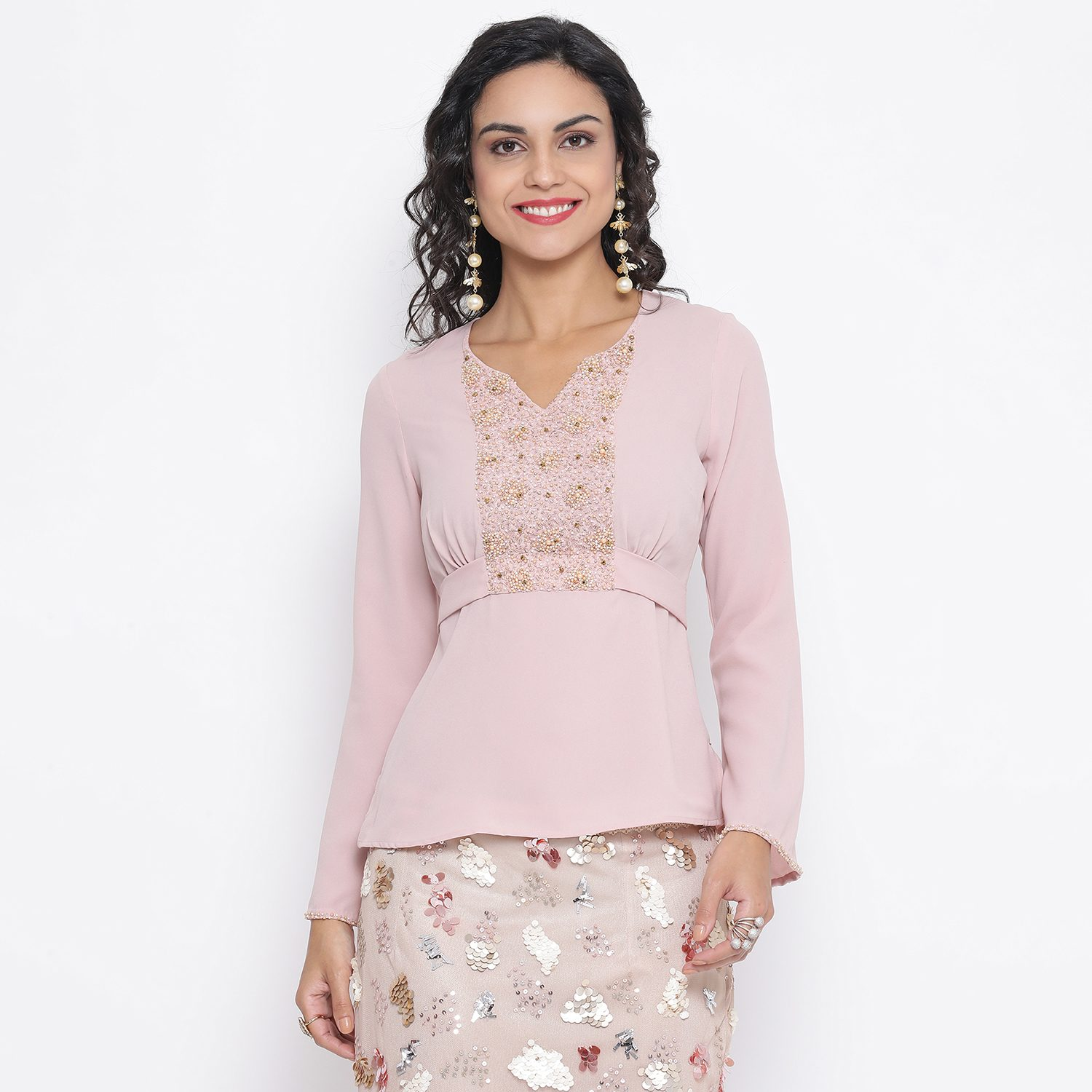 Buy Pink Georgette Top With Emb. At Yoke For Women