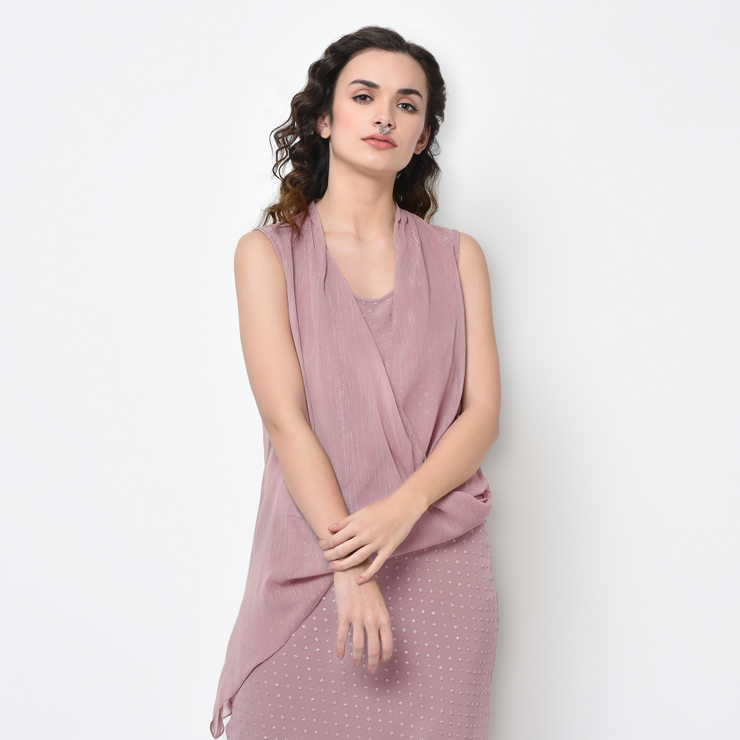 Buy Rose Pink Drape Top With Lurex For Women