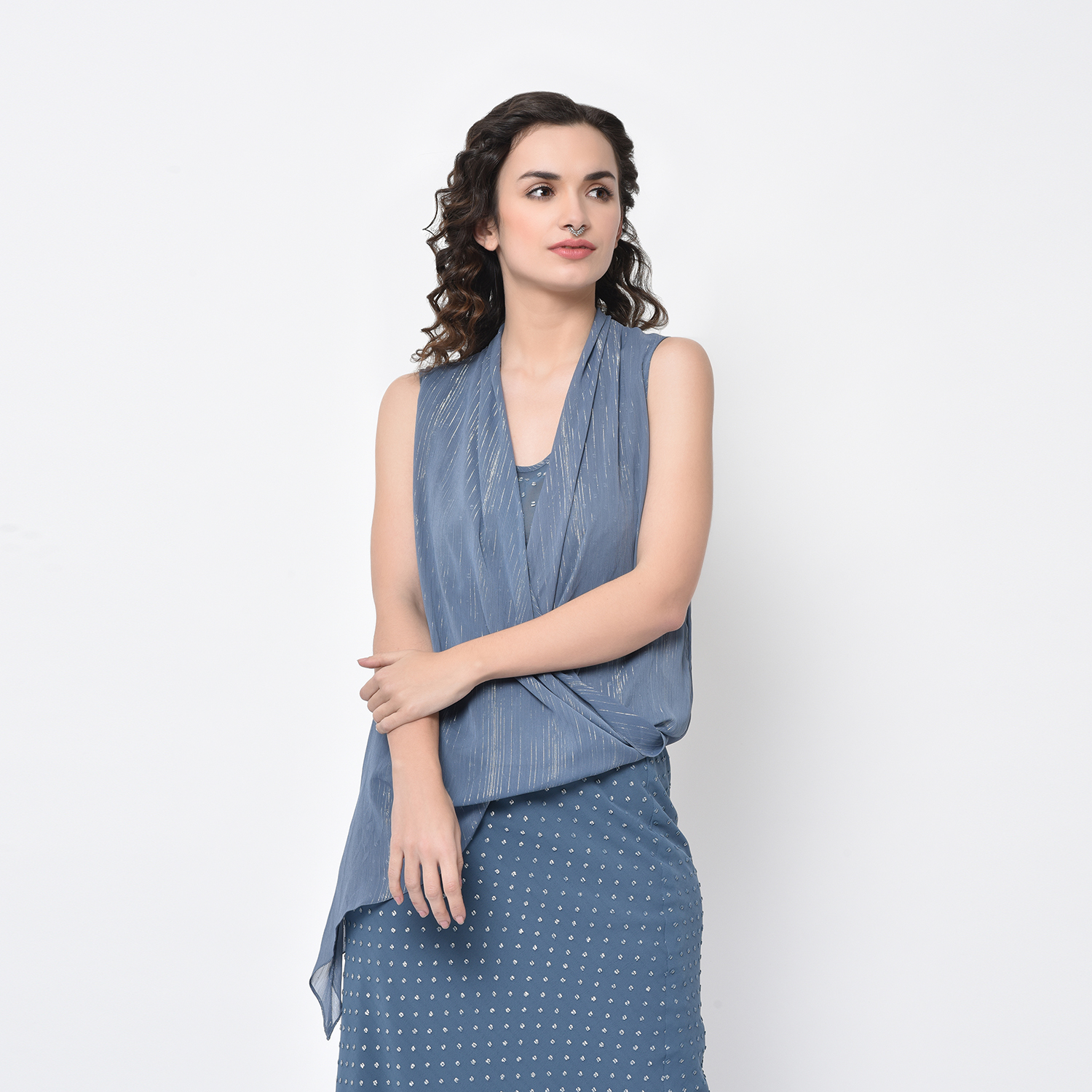 Buy Stone Blue Drape Top With Lurex For Women