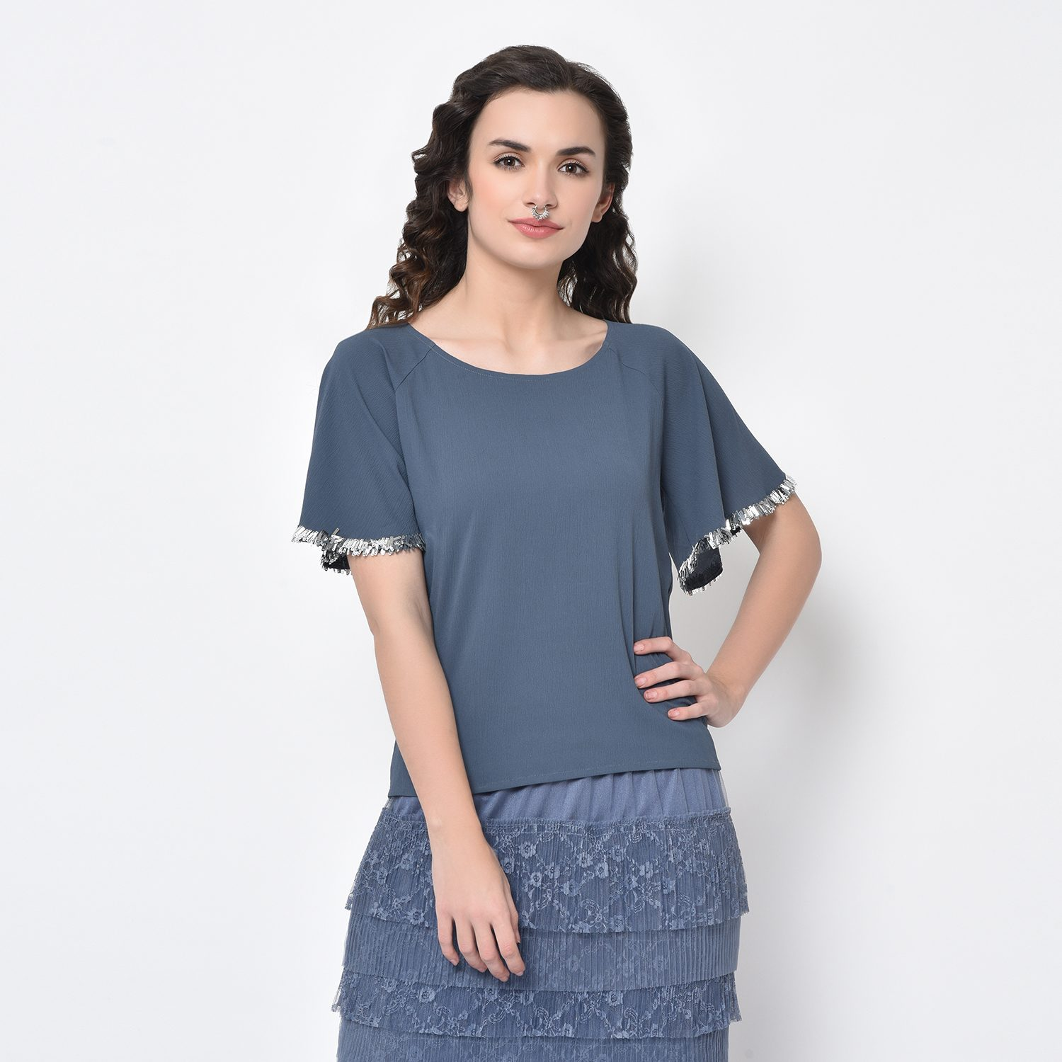 Buy Stone Blue Drape Top With Silver Hand Embroidery For Women