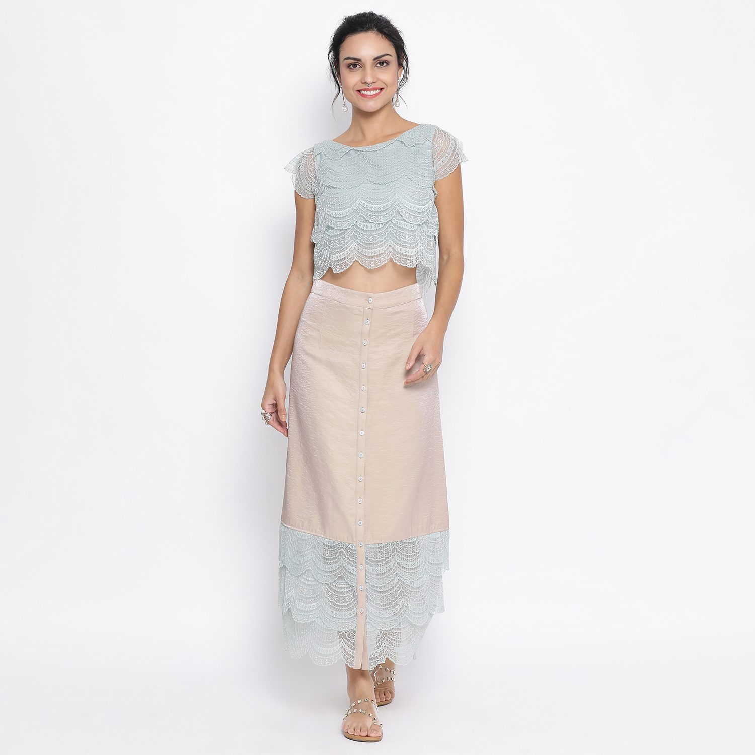 Buy Beige Skirt With Scallop Lace At Hem For Women