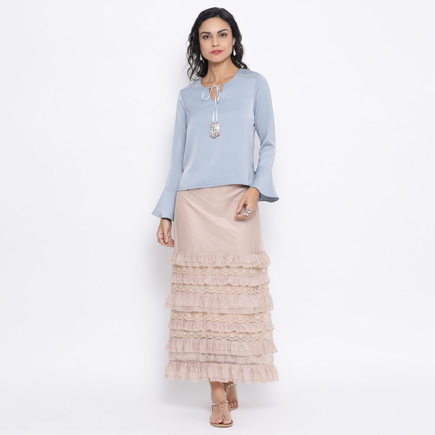 Buy Beige Net Skirt With Brown Elastic And Frills For Women