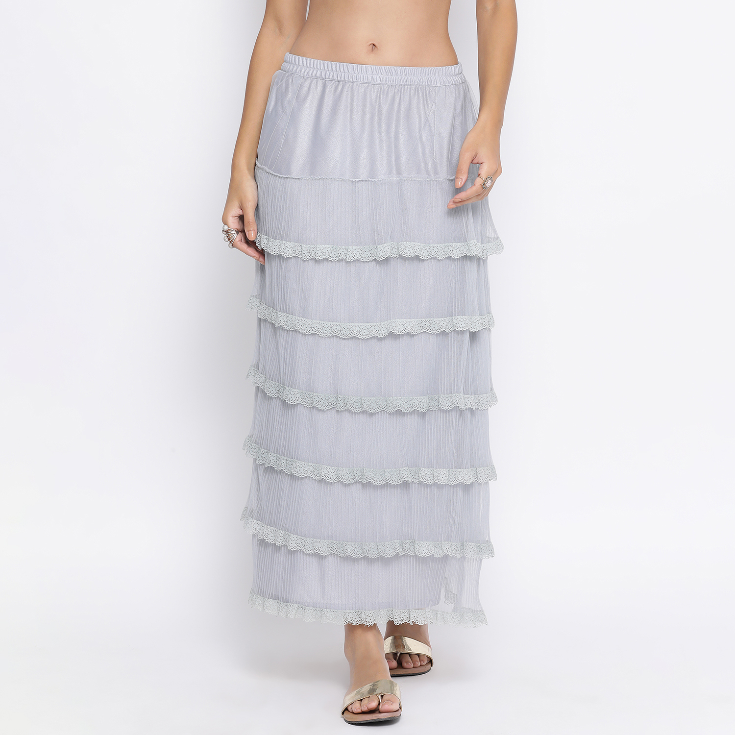 Buy Light Blue Net Frill Skirt With Lace For Women