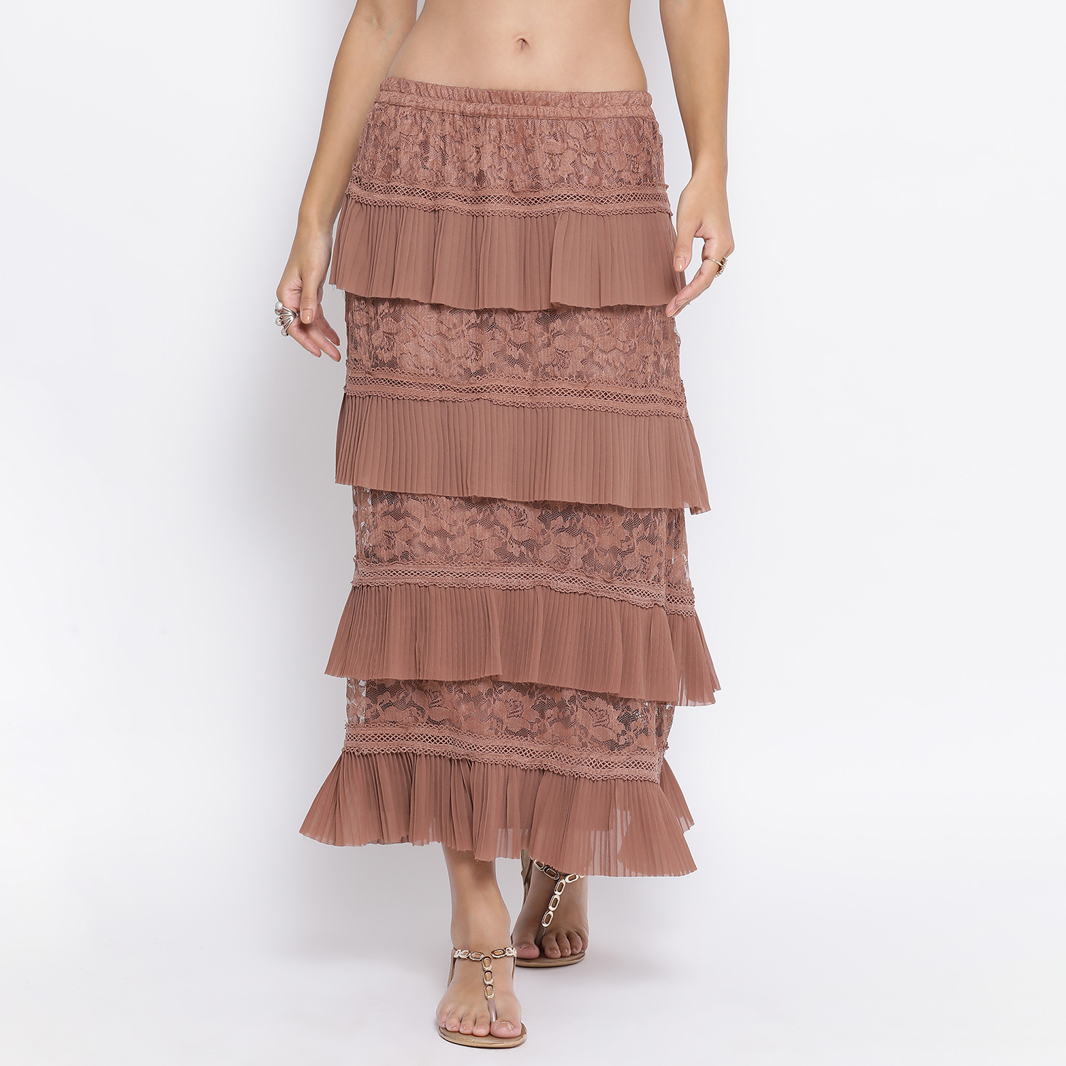 Buy Brown Net Frill Skirt With Lace For Women