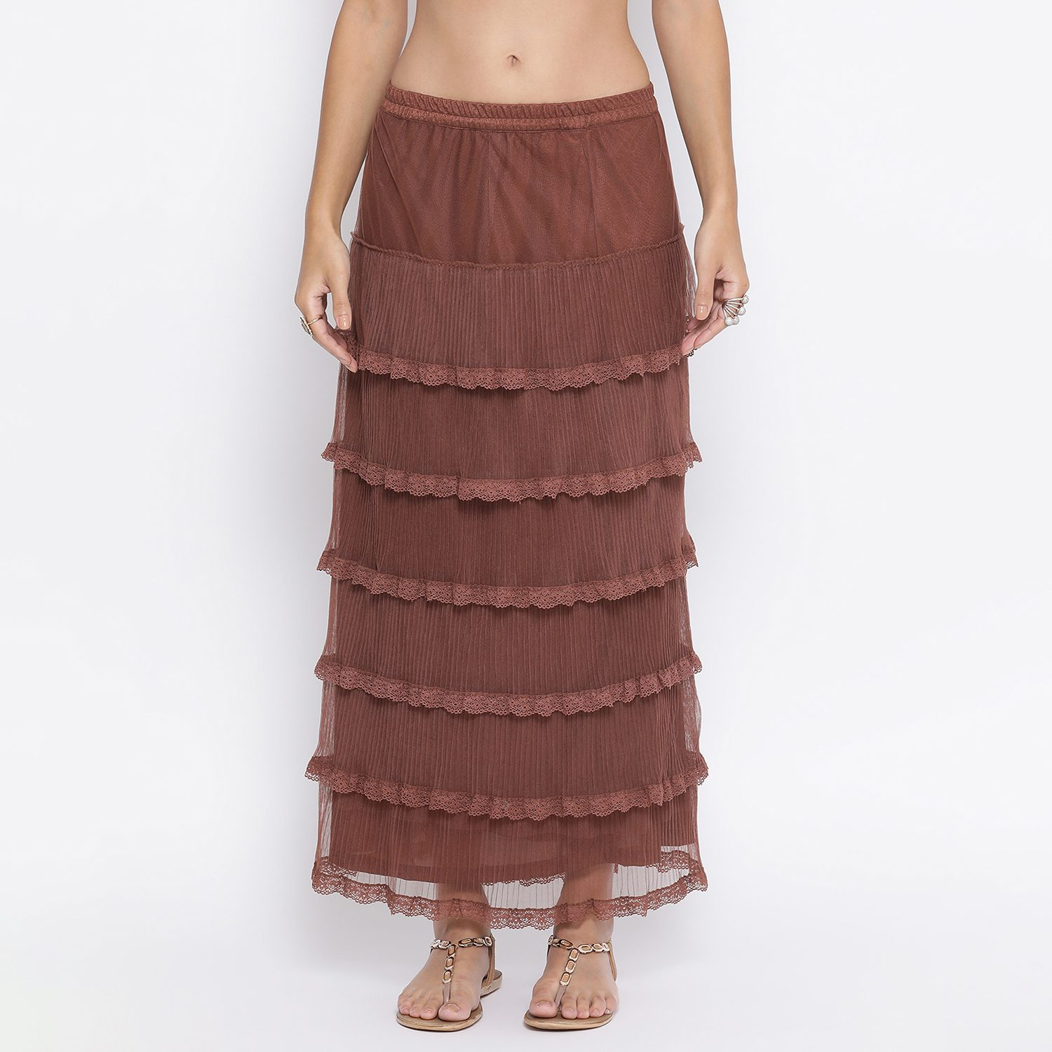 Buy Rust Flower Net Frill Skirt With Lace For Women