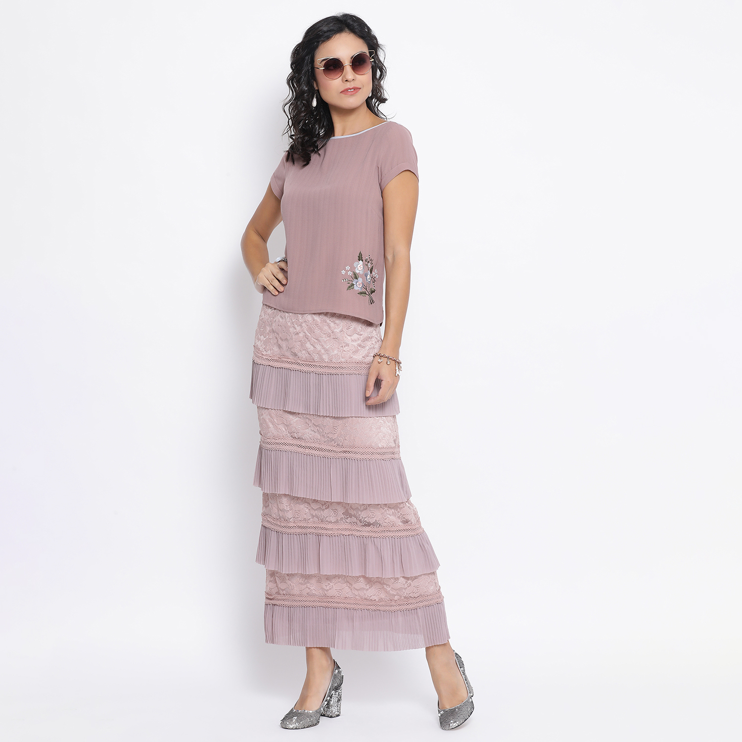 Buy Rose Pink Net Frill Skirt With Lace For Women