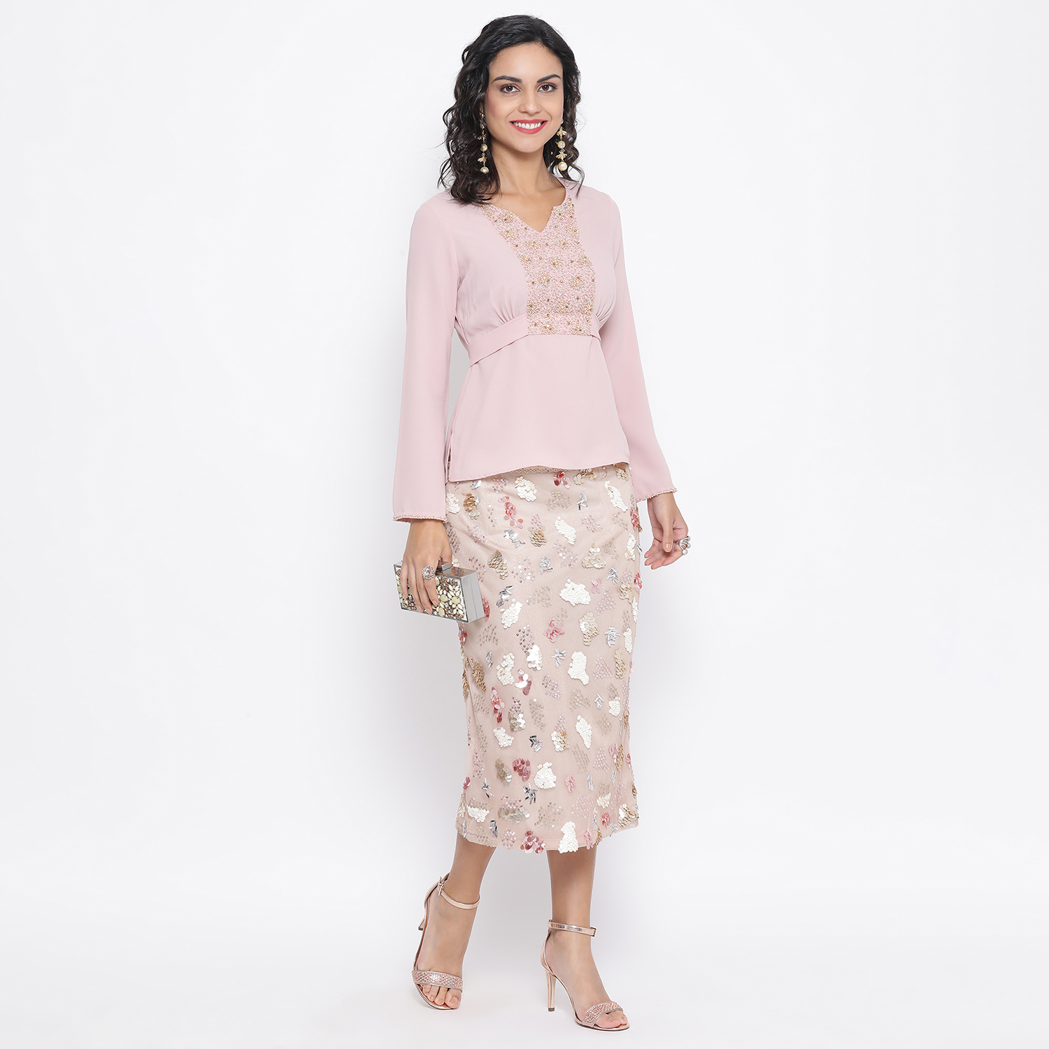 Buy Beige Net Skirt With Multicoloured Embroidery For Women