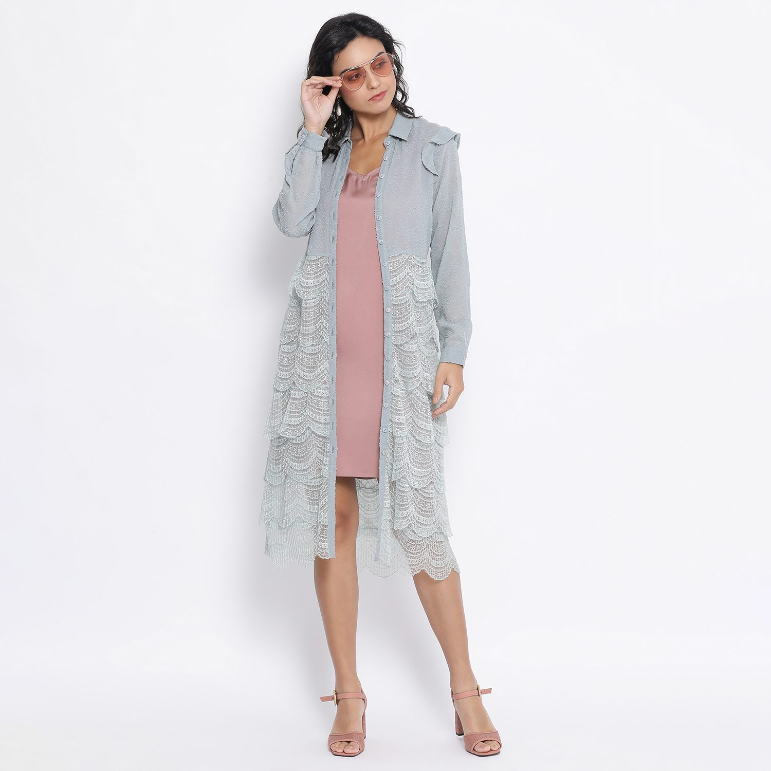 Buy Blue Texture Georgette And Scalp Lace Tunic For Women