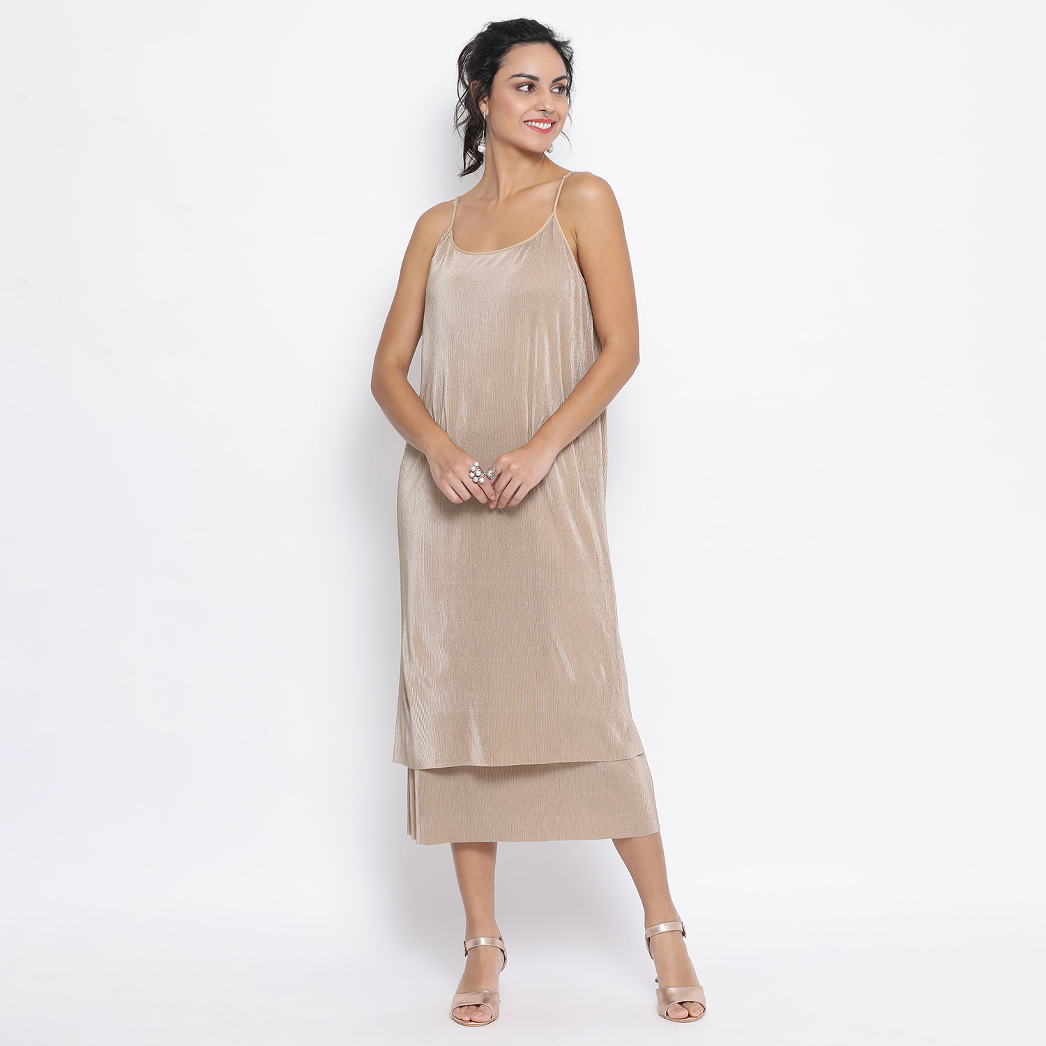 Buy Gold Line Texture Double Layer Lycra Dress For Women