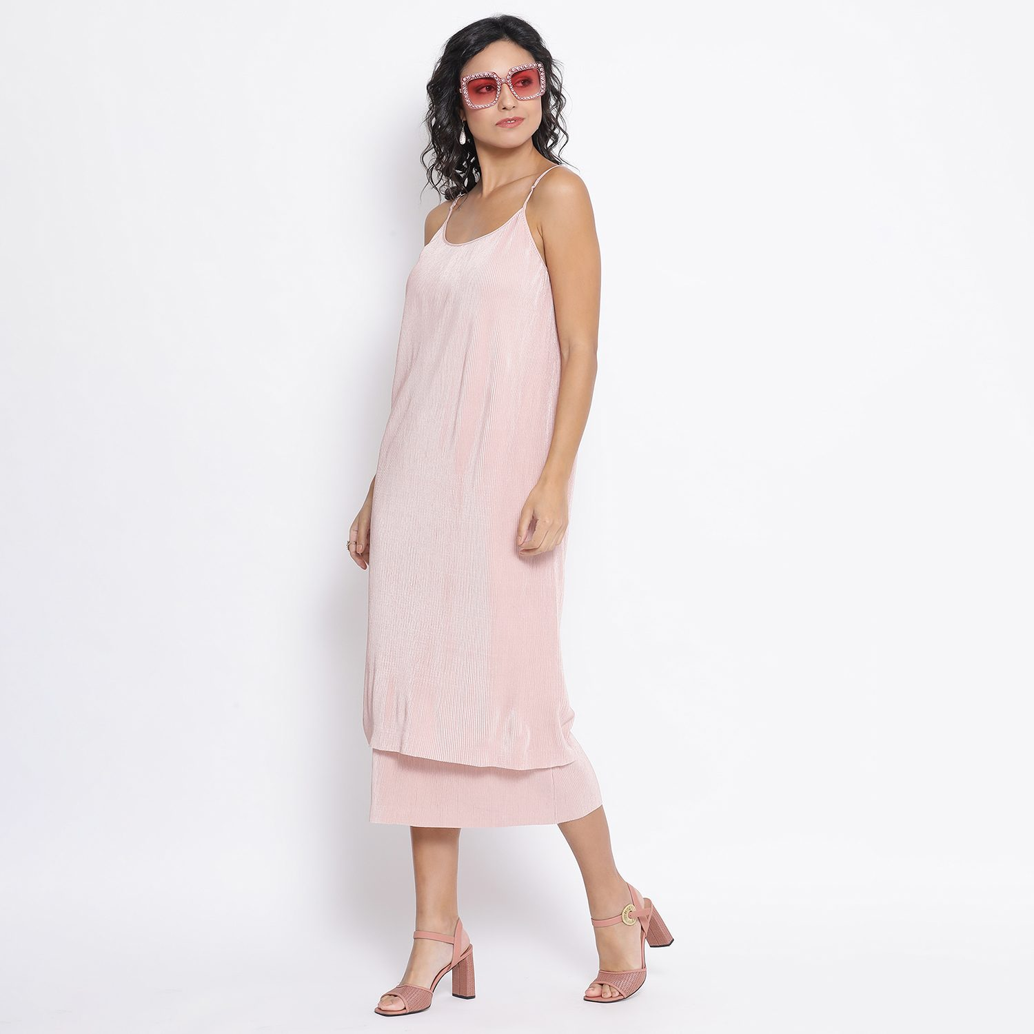 Buy Pink Line Texture Double Layer Lycra Dress For Women