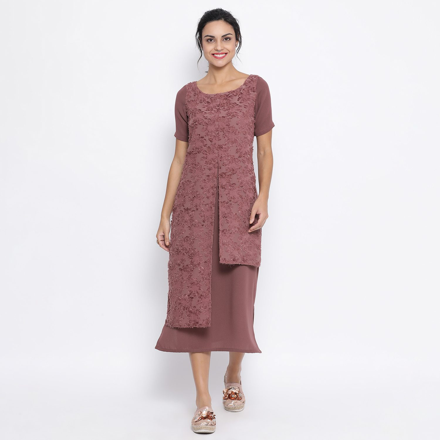 Buy Rosewood Double Layer Textured Long Dress For Women