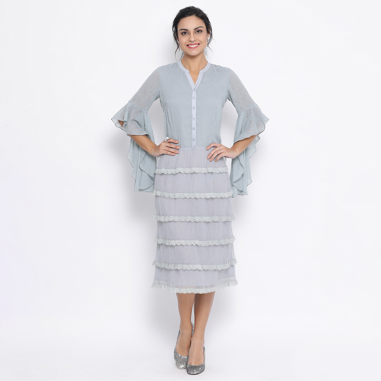 Buy Light Blue Dress With Lace And Bell Sleeves For Women