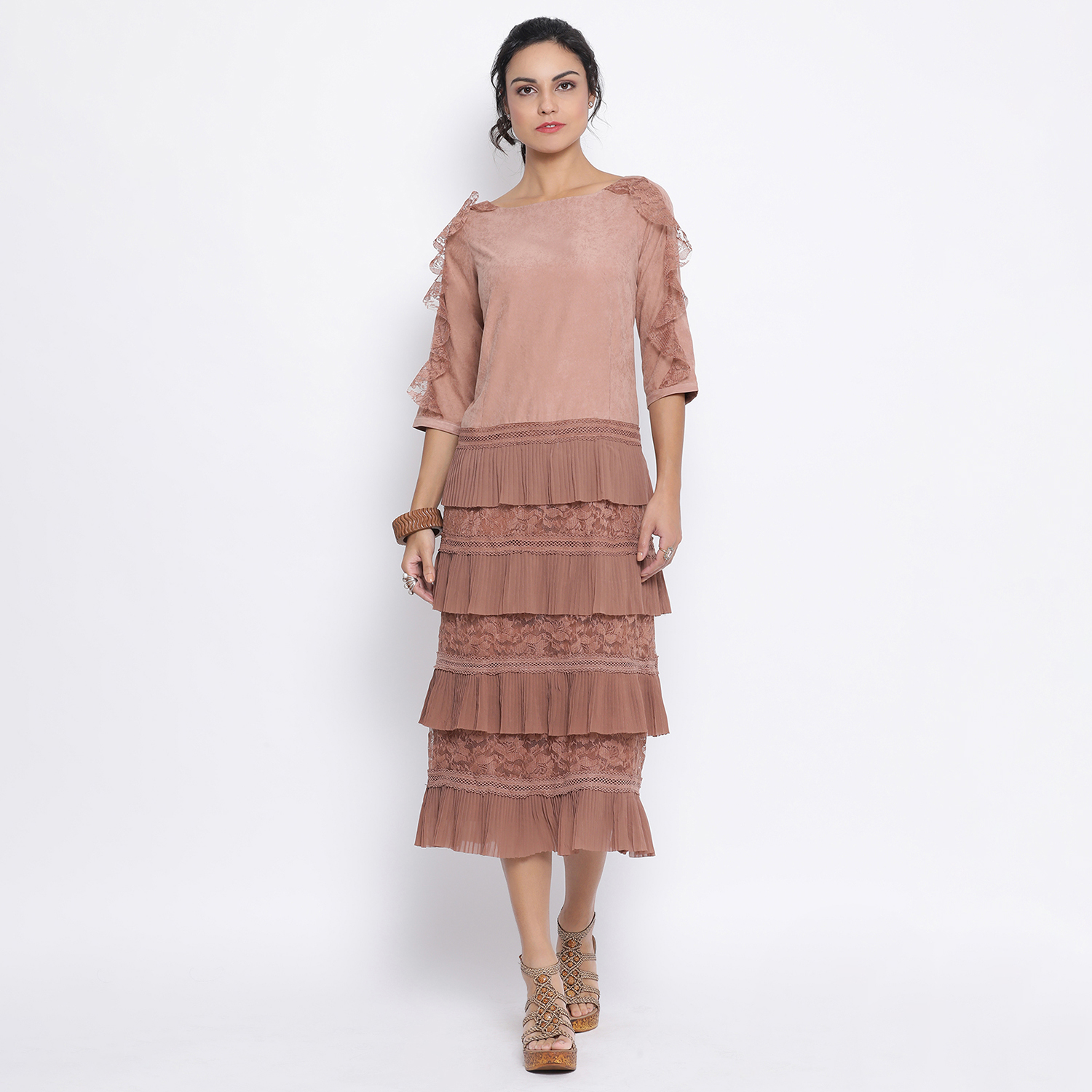 Buy Rust Dress With Frill At Bottom For Women