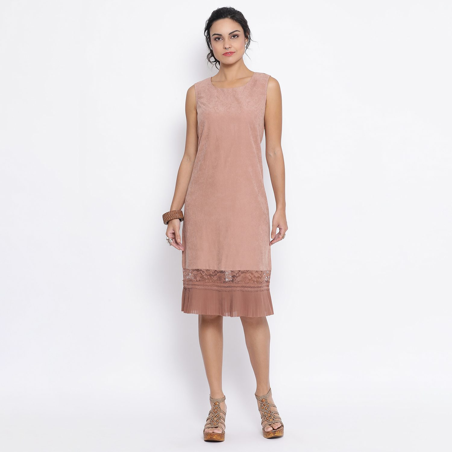 Buy Sleeveless Rust Dress With Frill At Bottom For Women
