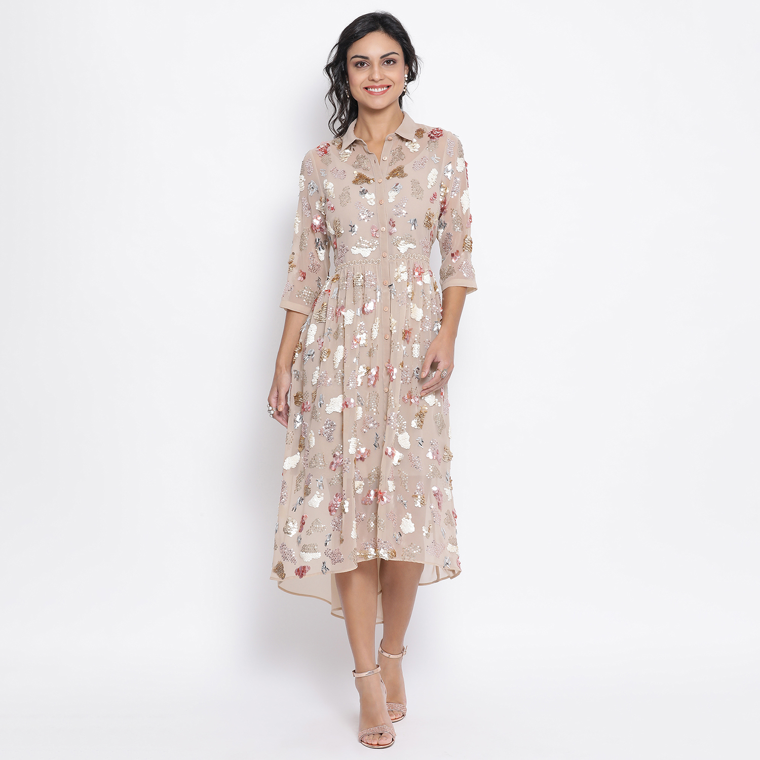 Buy Beige Georgette Tunic With Multicoloured Embroidery For Women
