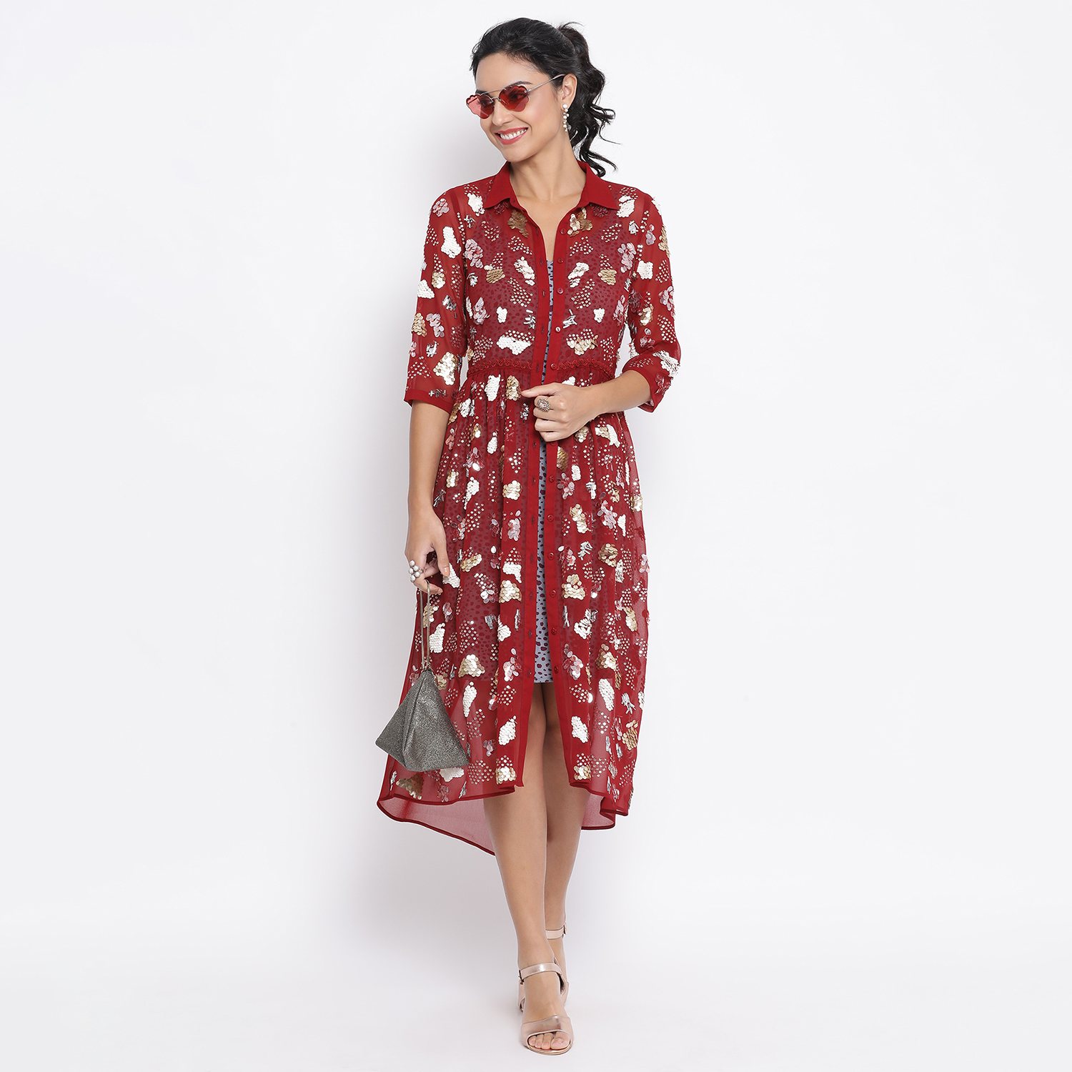 Buy Maroon Georgette Tunic With Embroidery For Women