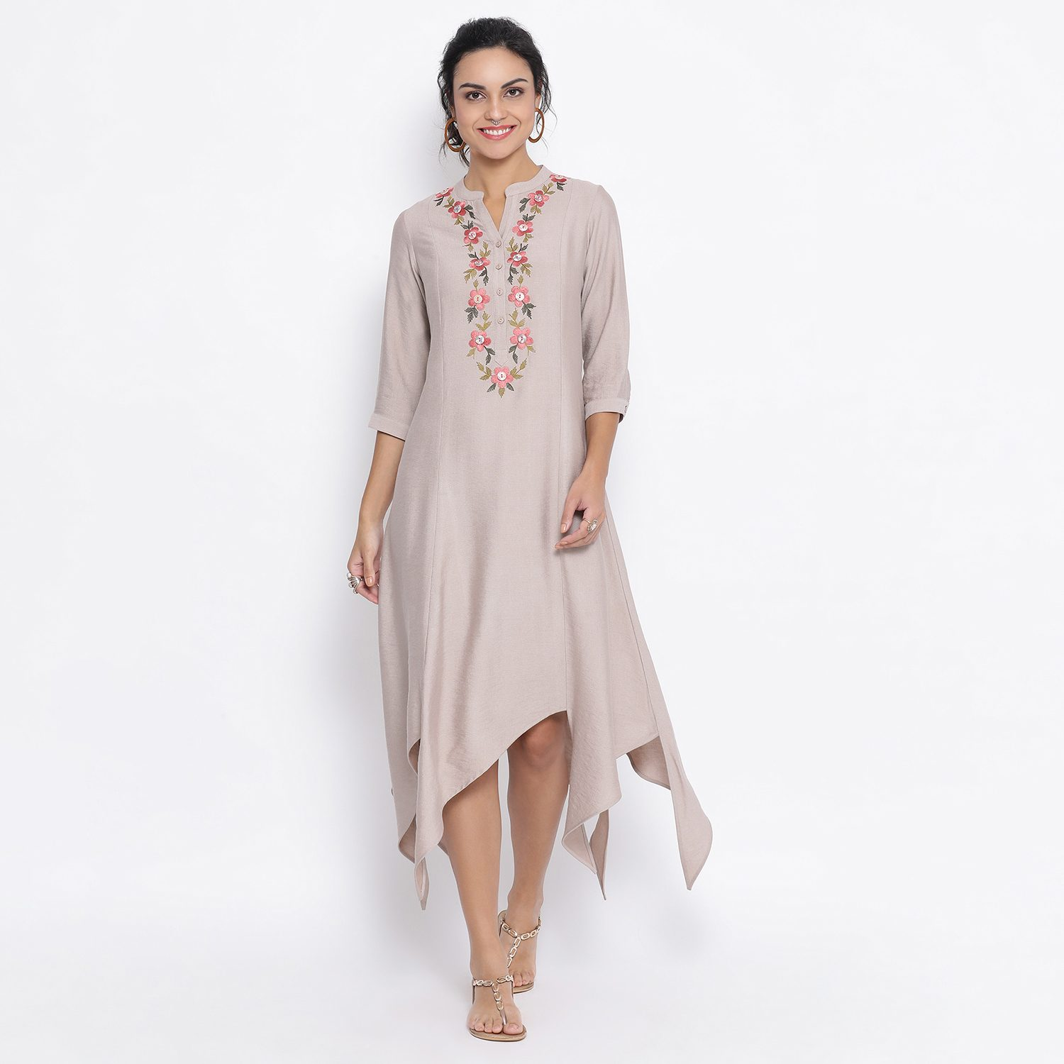 Buy Beige Triangle Dress With Button Embroidery For Women
