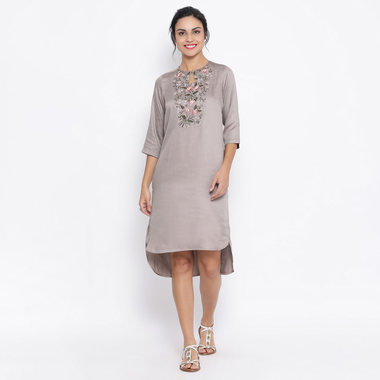 Buy Grey Long Tunic With Button Embroidery At Yoke For Women