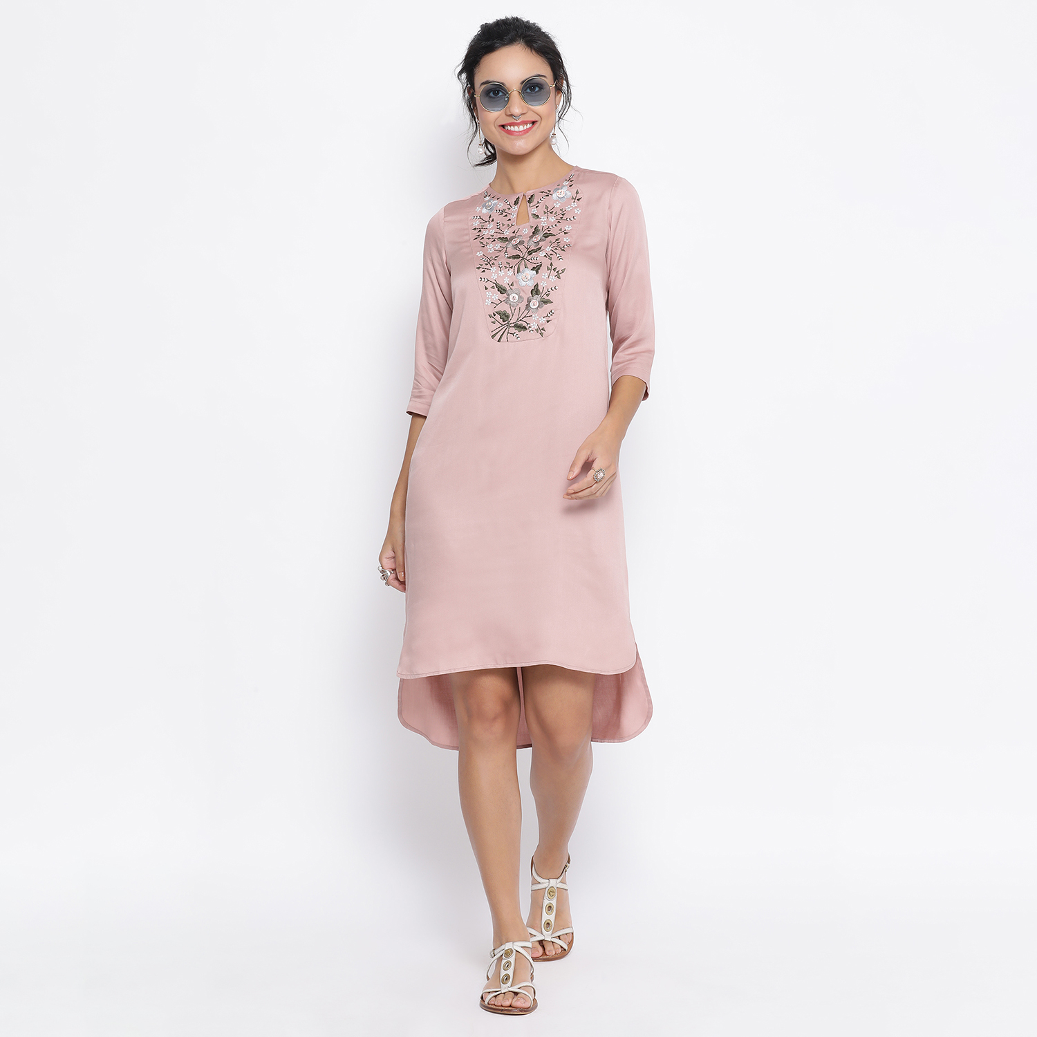 Buy Pink Long Tunic With Button Embroidery At Yoke For Women