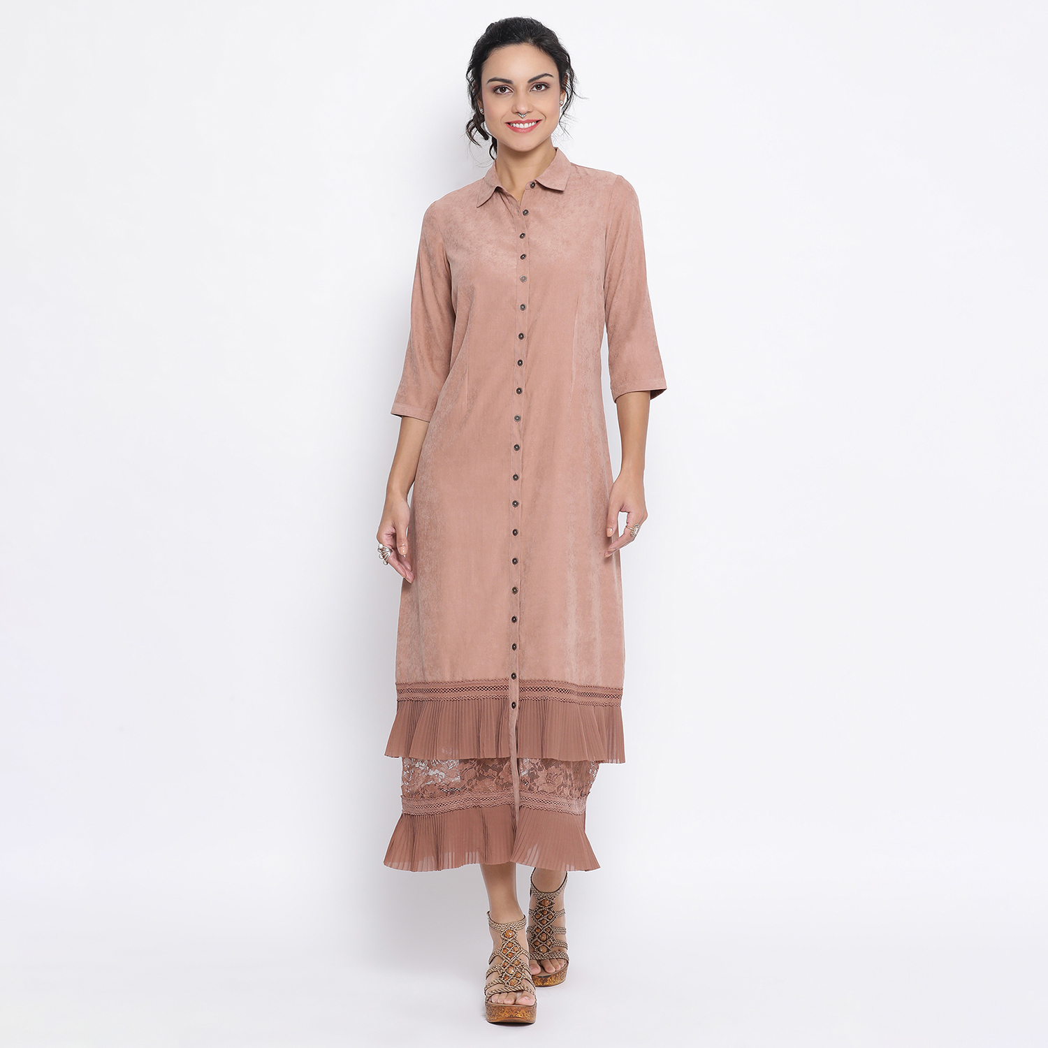 Buy Rust Long Dress With Frill At Bottom For Women