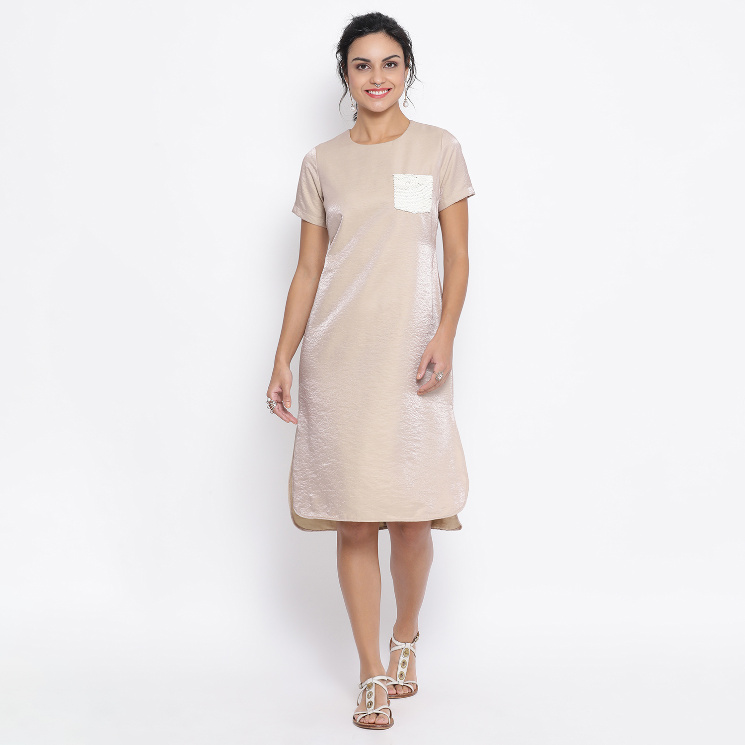 Buy Beige Long Dress With Sequence Pocket For Women