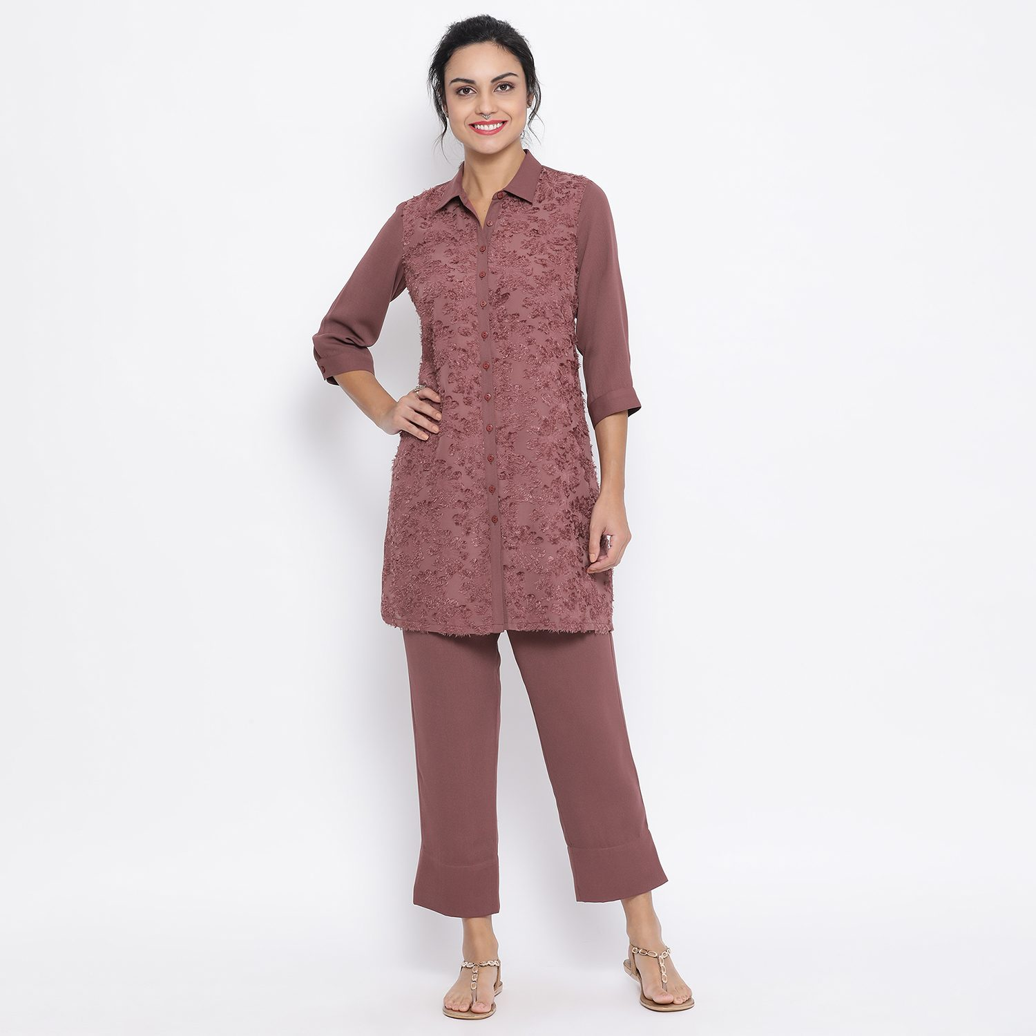 Buy Rose Wood Texture Shirt With Ankle Length Pant For Women