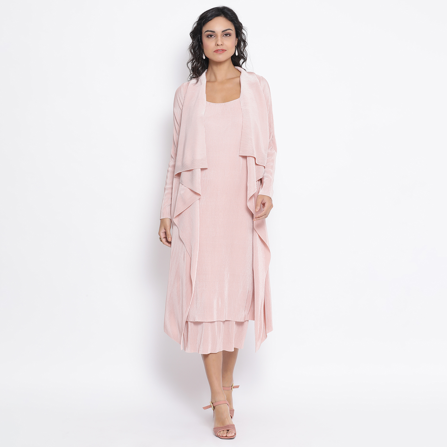 Buy Pink Texture Drape Personable Jacket For Women