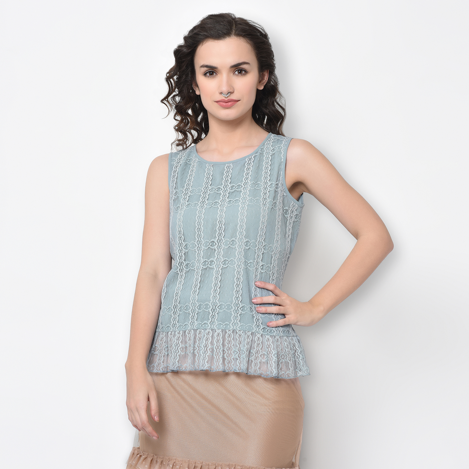 Buy Blue Net Top With French Lace For Women