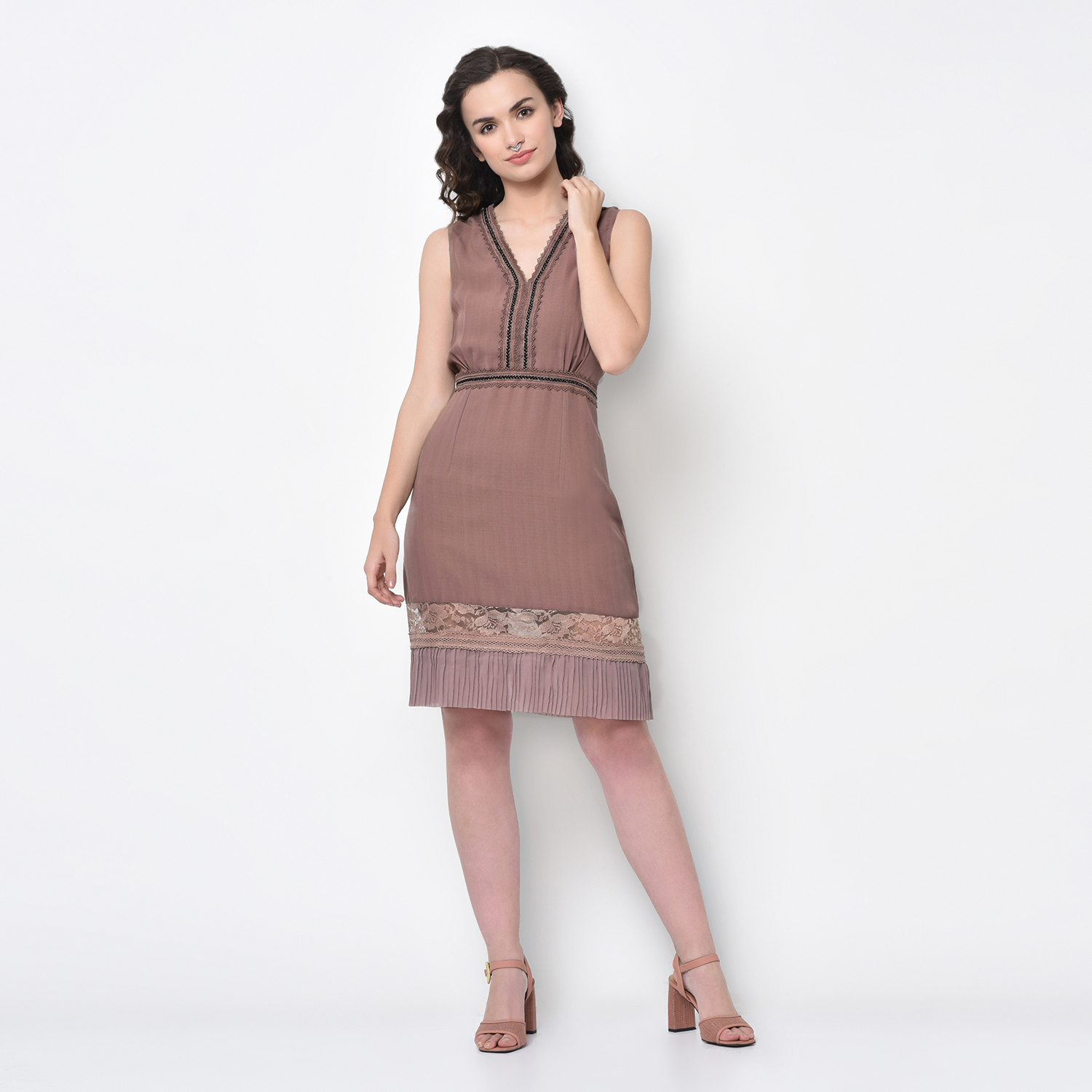 Buy Rose Pink Dress With Lace Bottom For Women