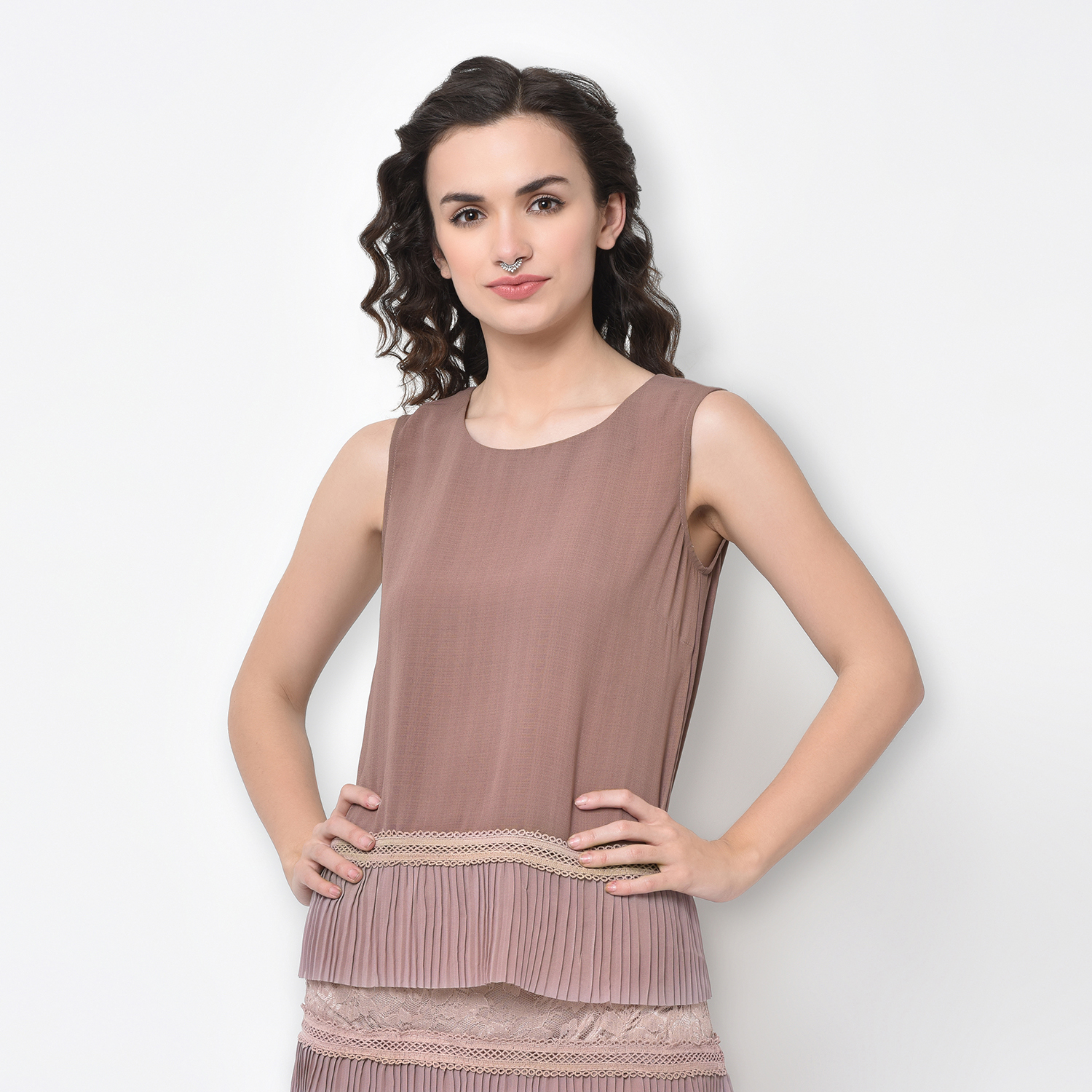 Buy Rose Pink Sleeveless Top With Frill At Hem For Women