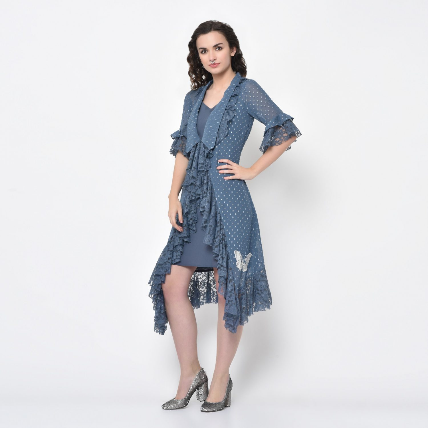 Buy Silver Dot Stone Blue Tunic With Embroidery For Women