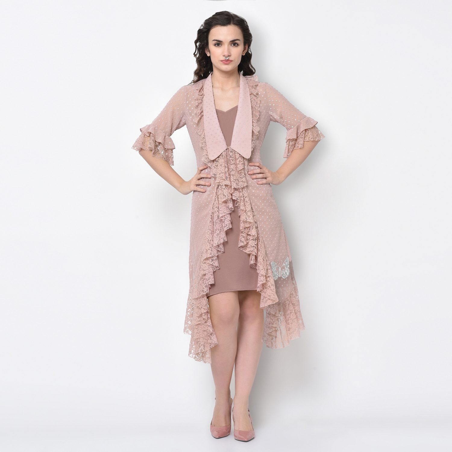 Buy Silver Dot Pink Tunic With Butterfly Embroidery For Women