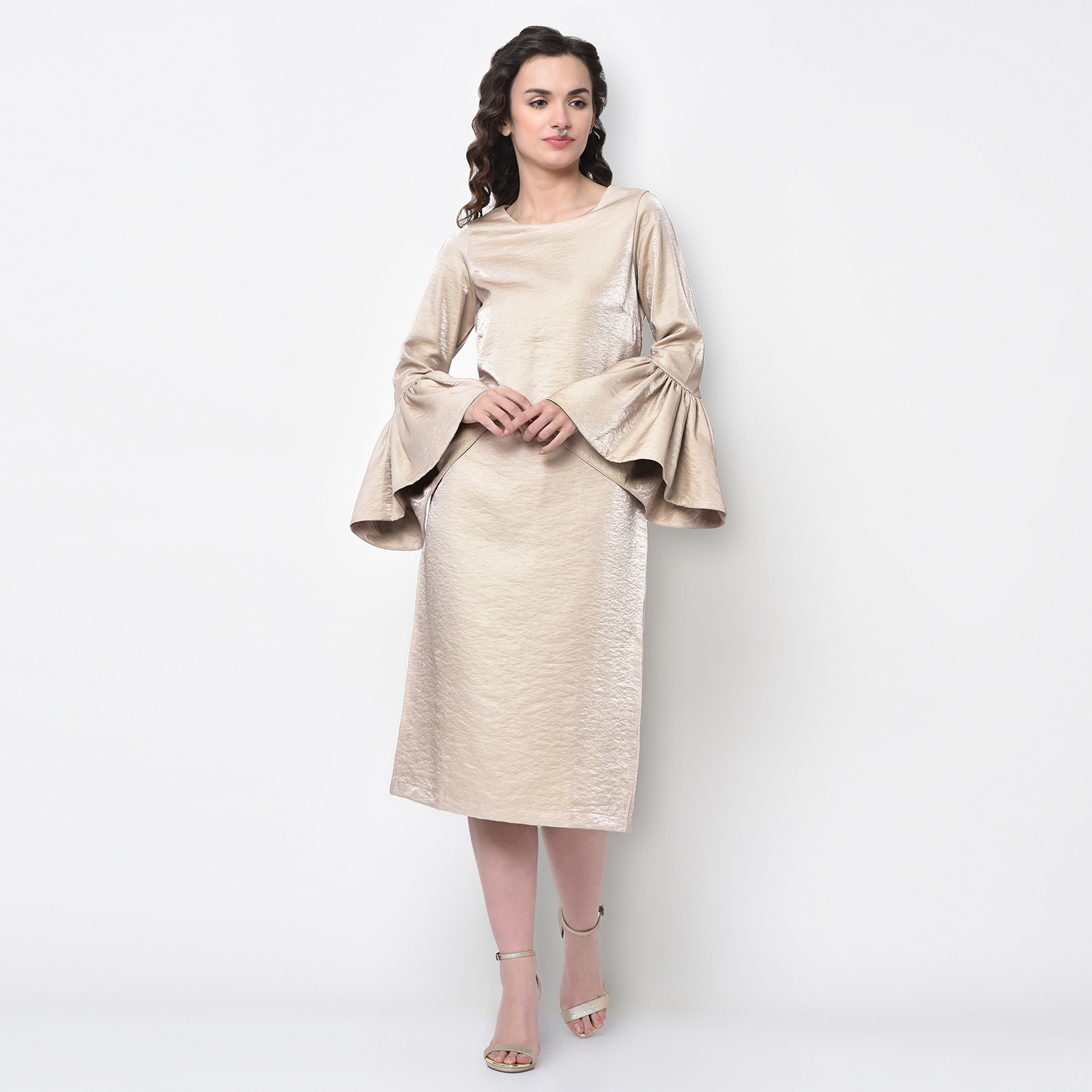 Buy Beige Gold Long Dress With Bell Sleeve For Women