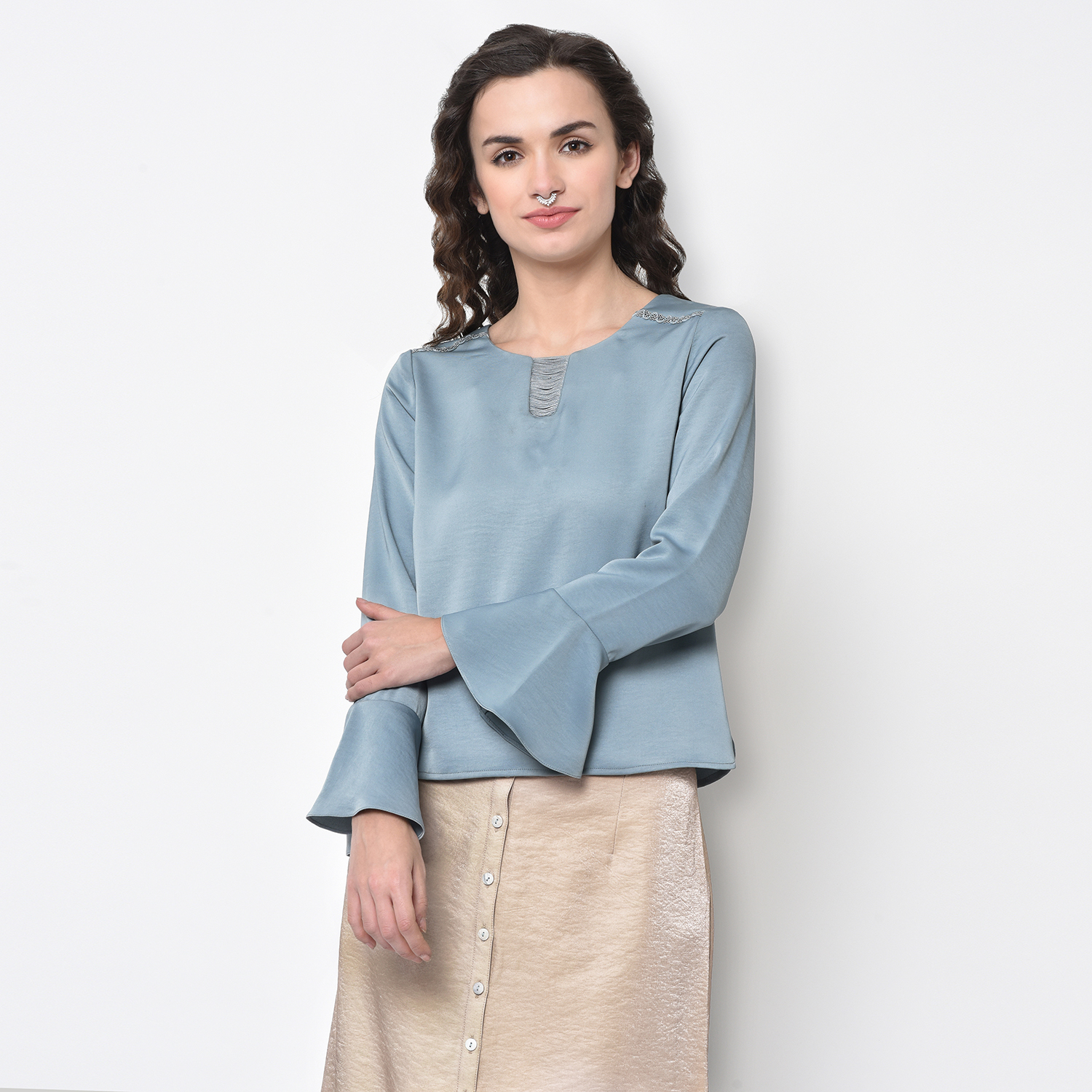 Buy Blue Top With Strings At Neck For Women
