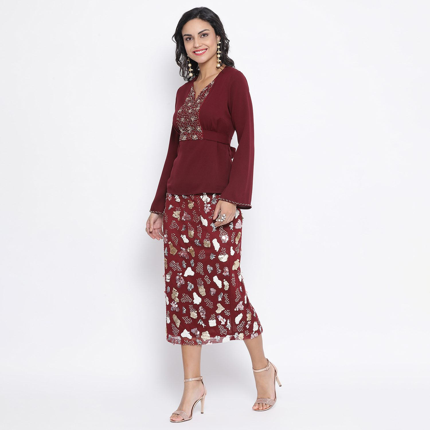 Buy Maroon Net Skirt With Multicoloured Embroidery For Women