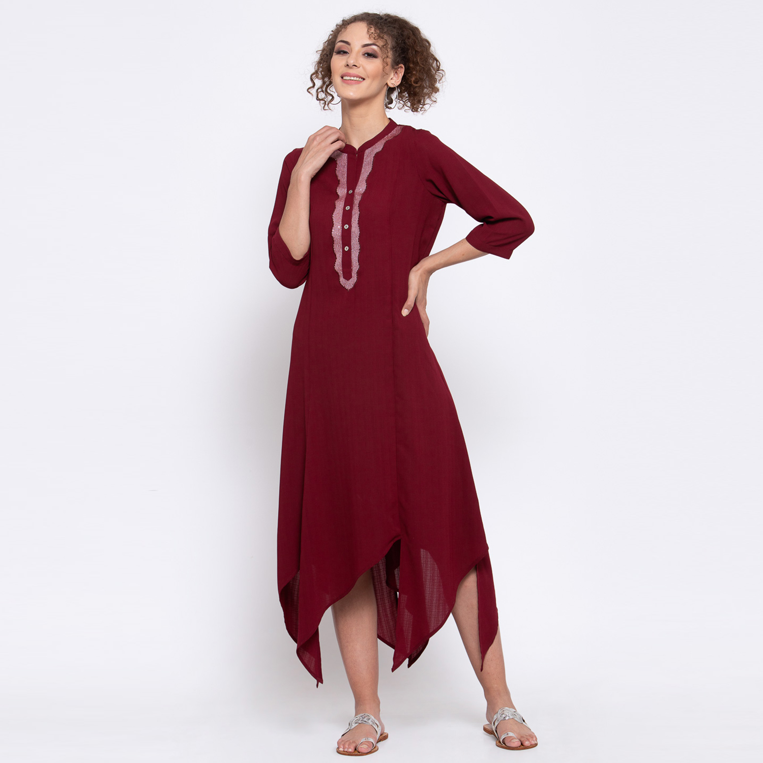 Maroon traingle dress with sequins embroidery