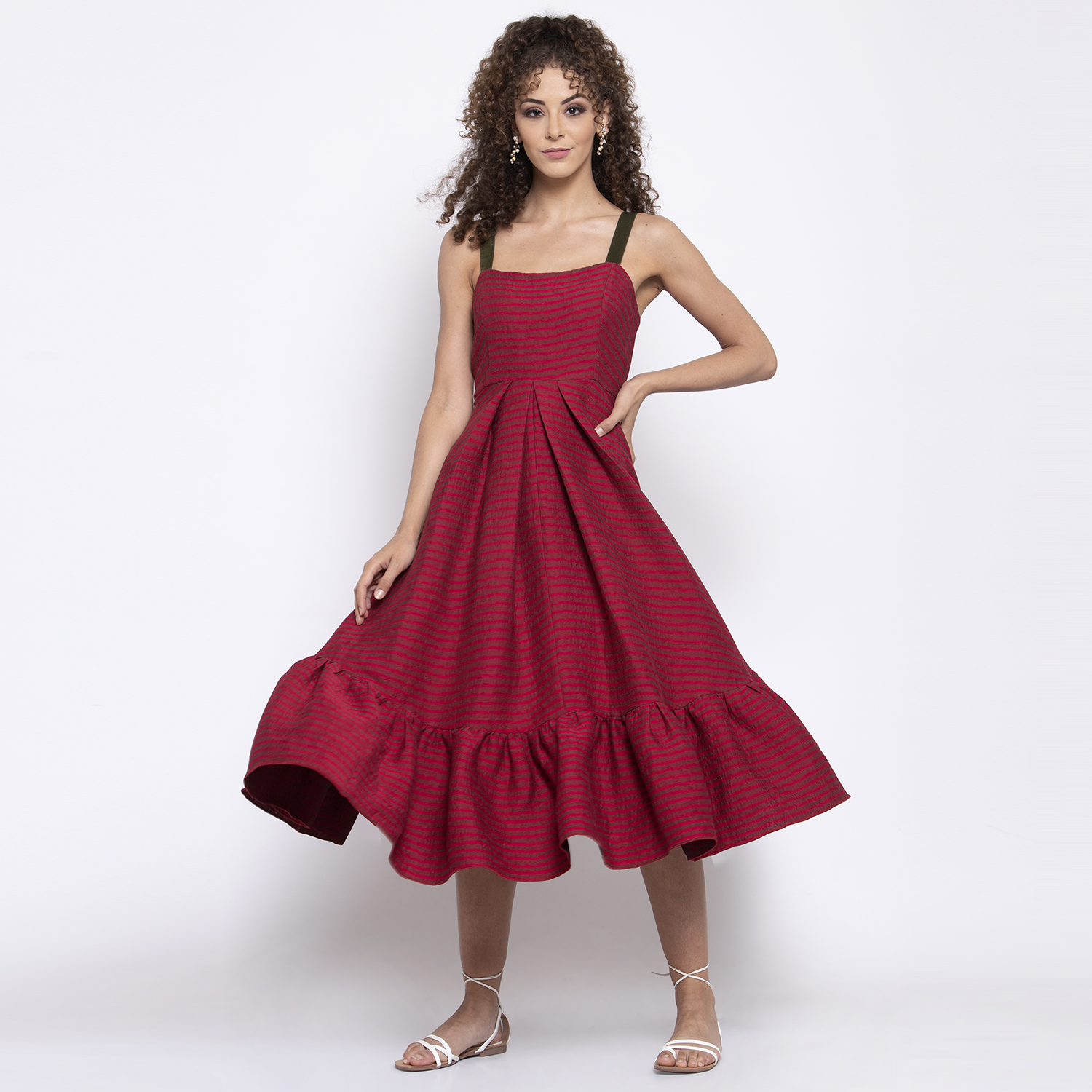 Red texture dress with frill at bottom