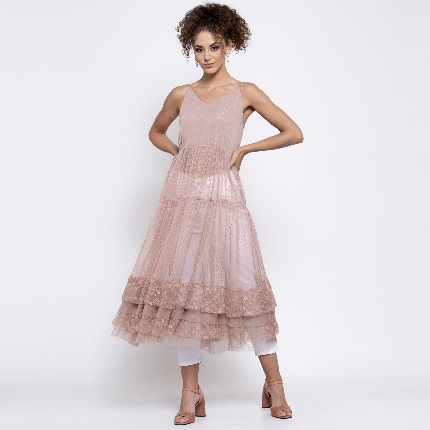 Pink dotted net dress with frill