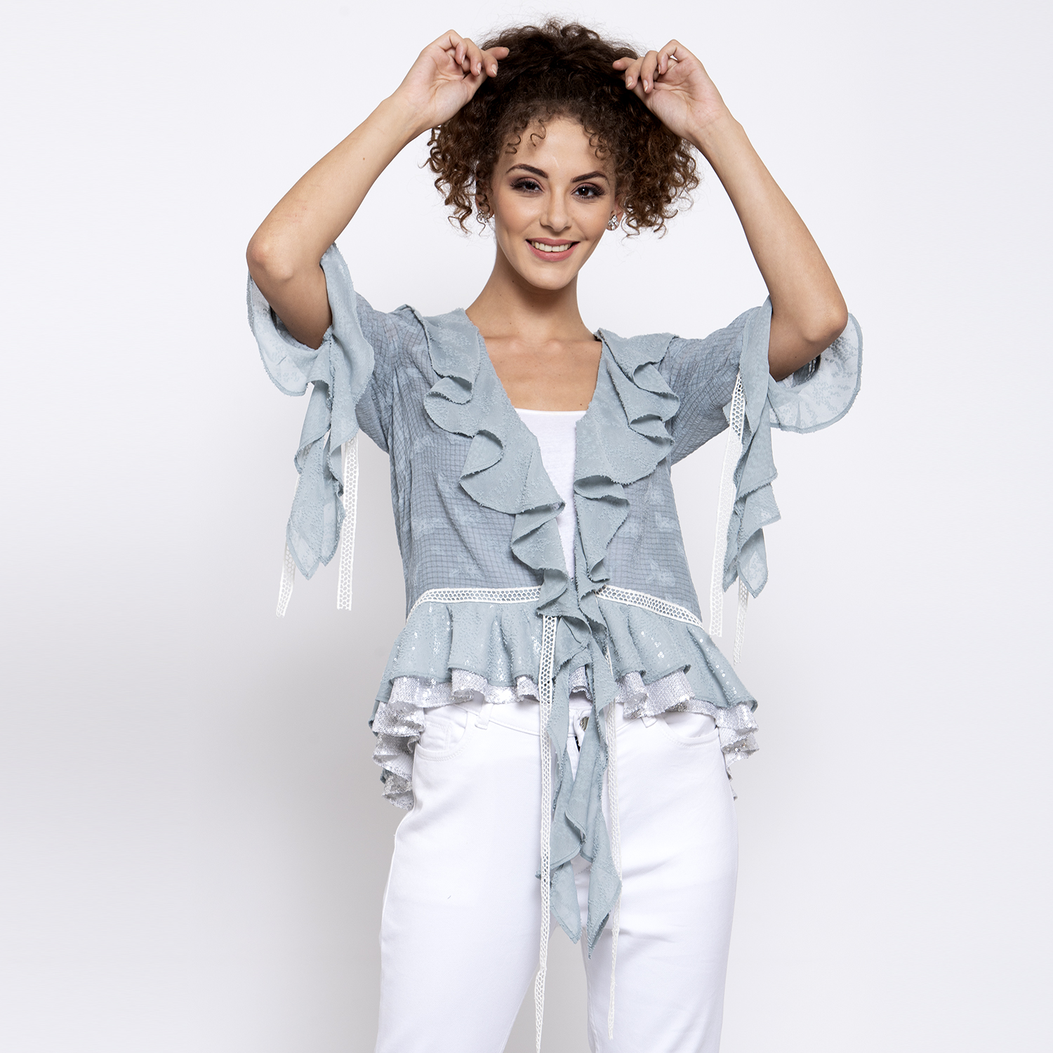 Blue texture georgette frill shrug with lace