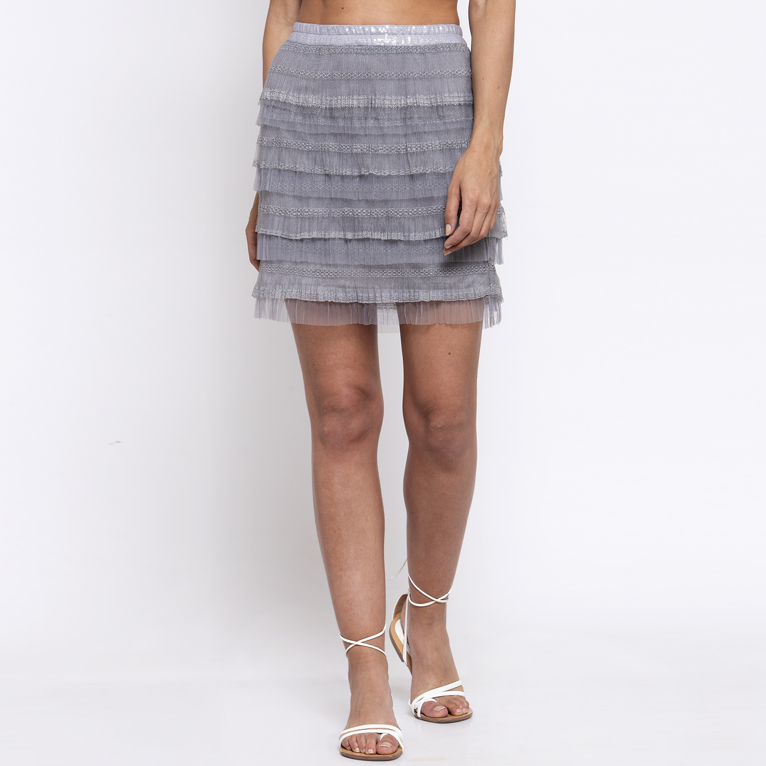 Short grey layered skirt with net frill