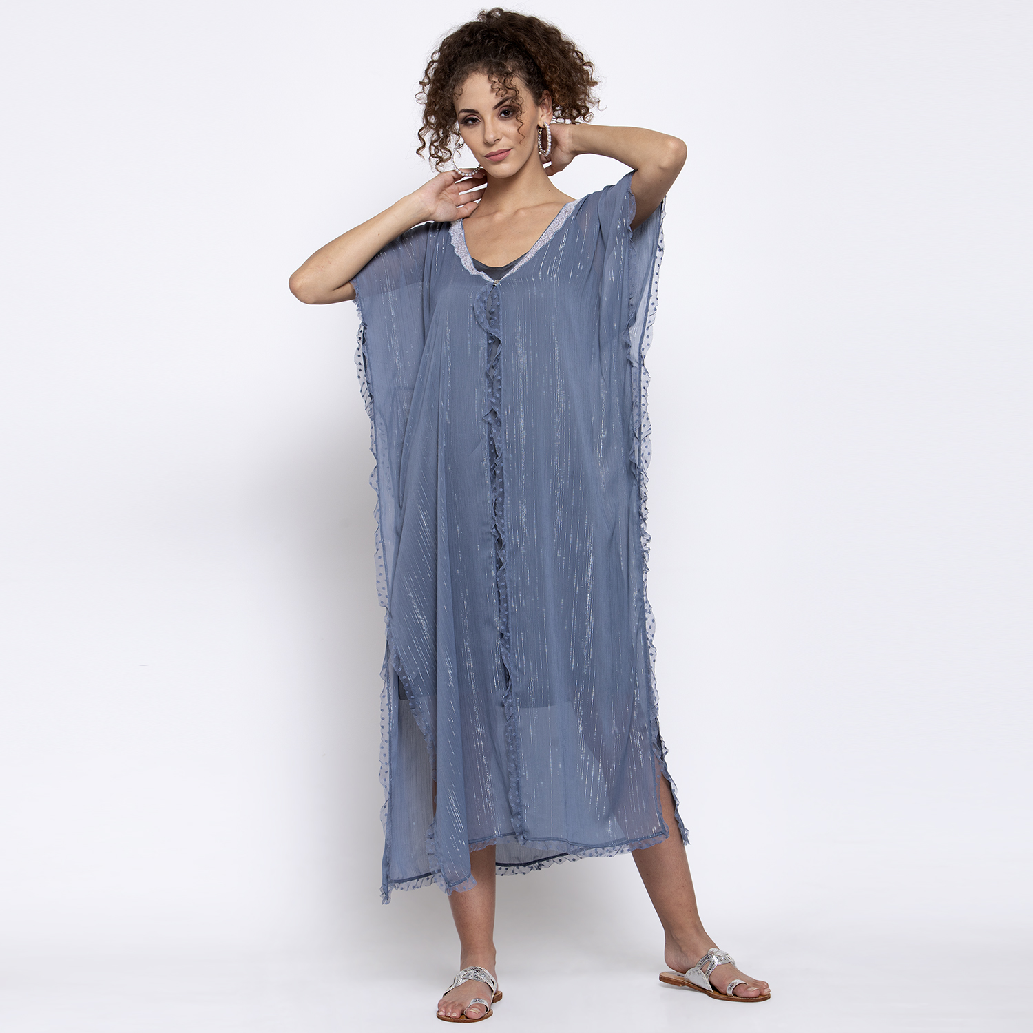 Blue lurex kaftan with sequins embroidery at neck