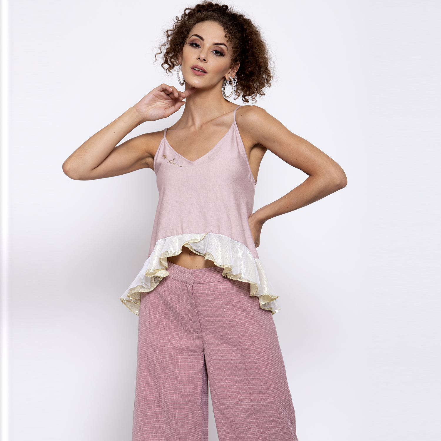 Pink linen top with golden sequins frill & embroidery at neck
